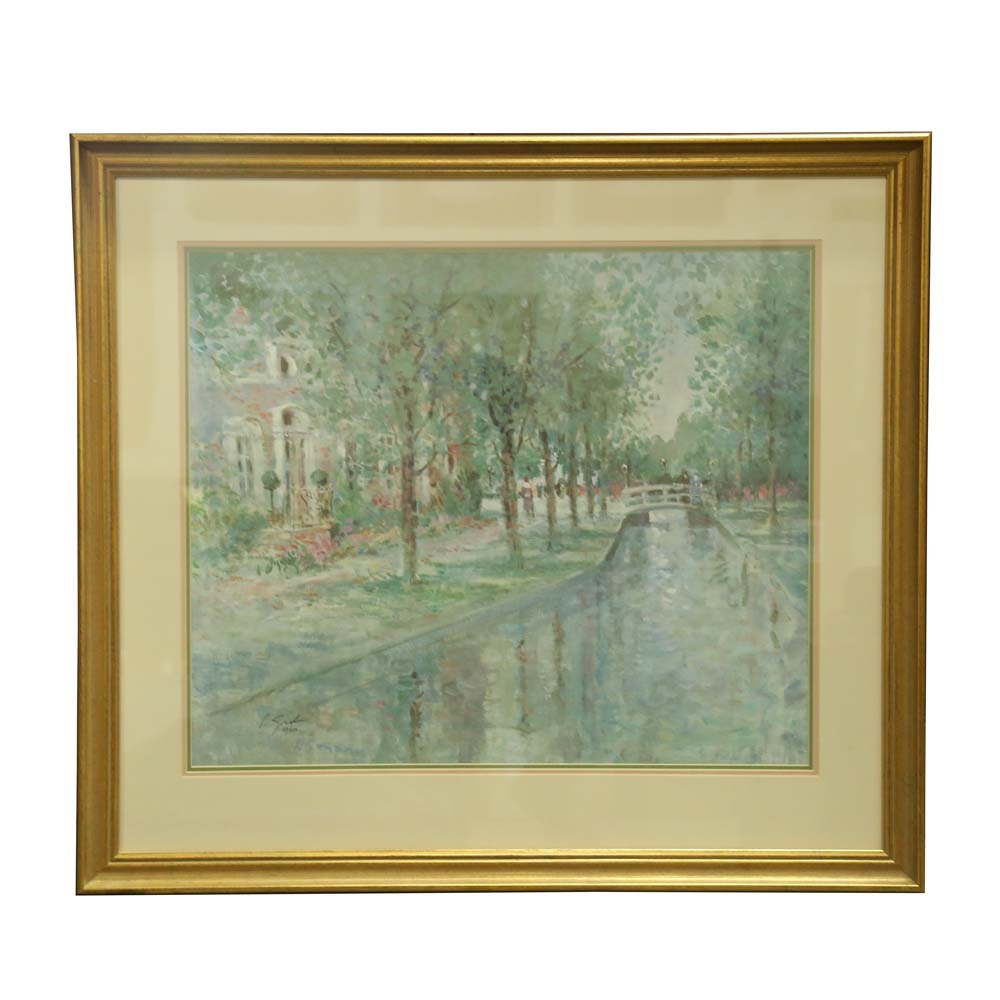 "L. Gordon Limited Edition Offset Lithograph ""Pleasant Promenade"""