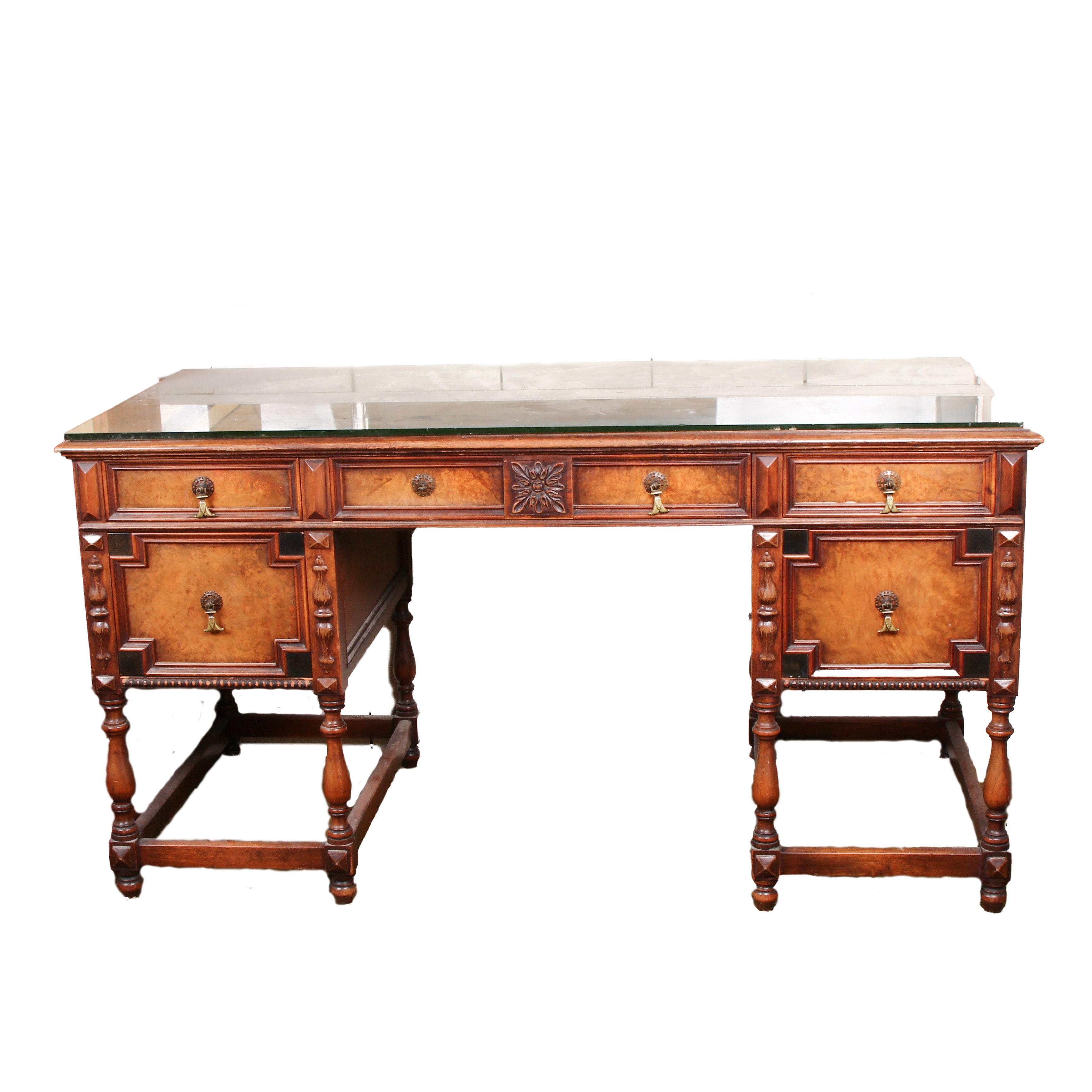 Johnson-Handley Jacobean Revival Oak Desk