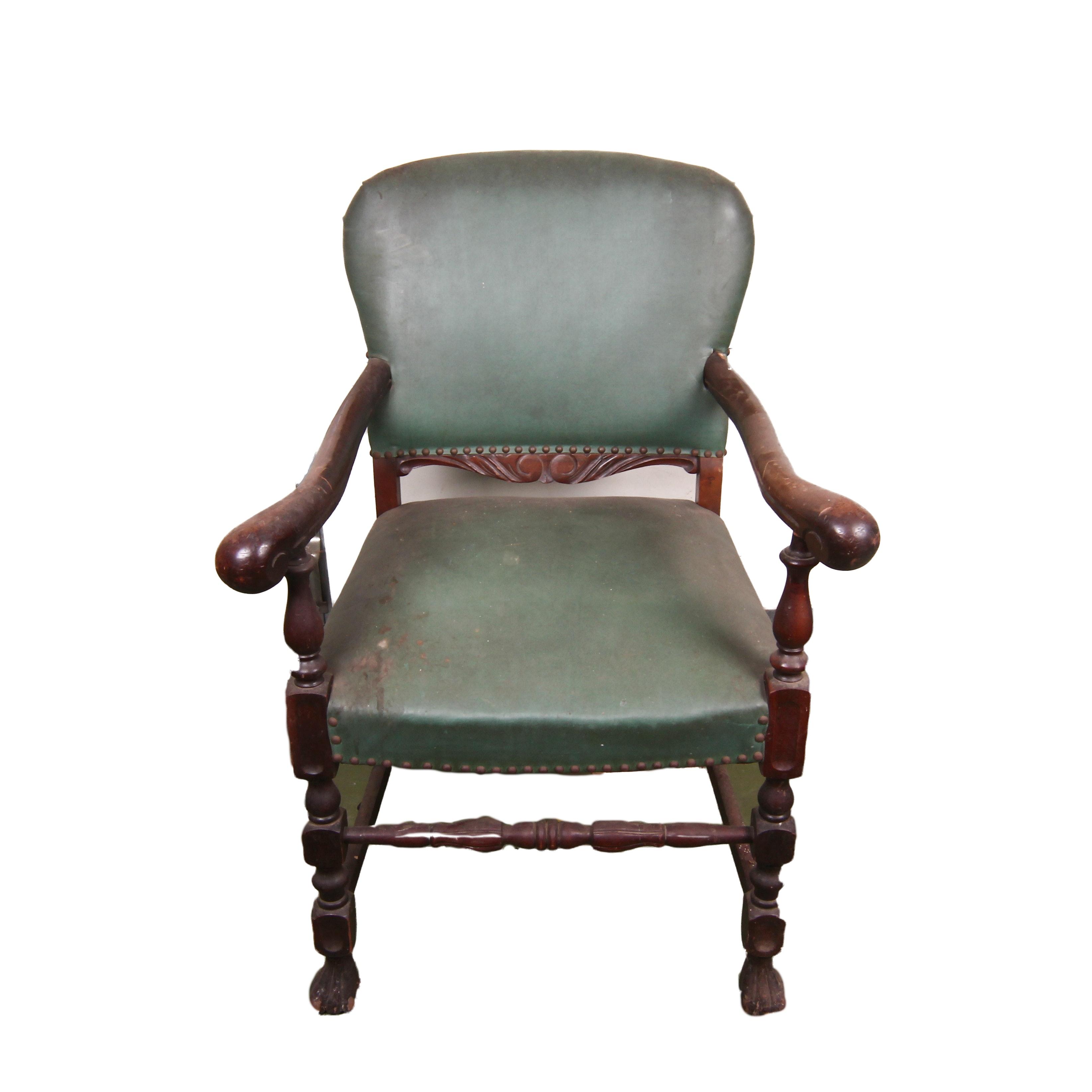 Vintage Walnut Jacobean Style Armchair