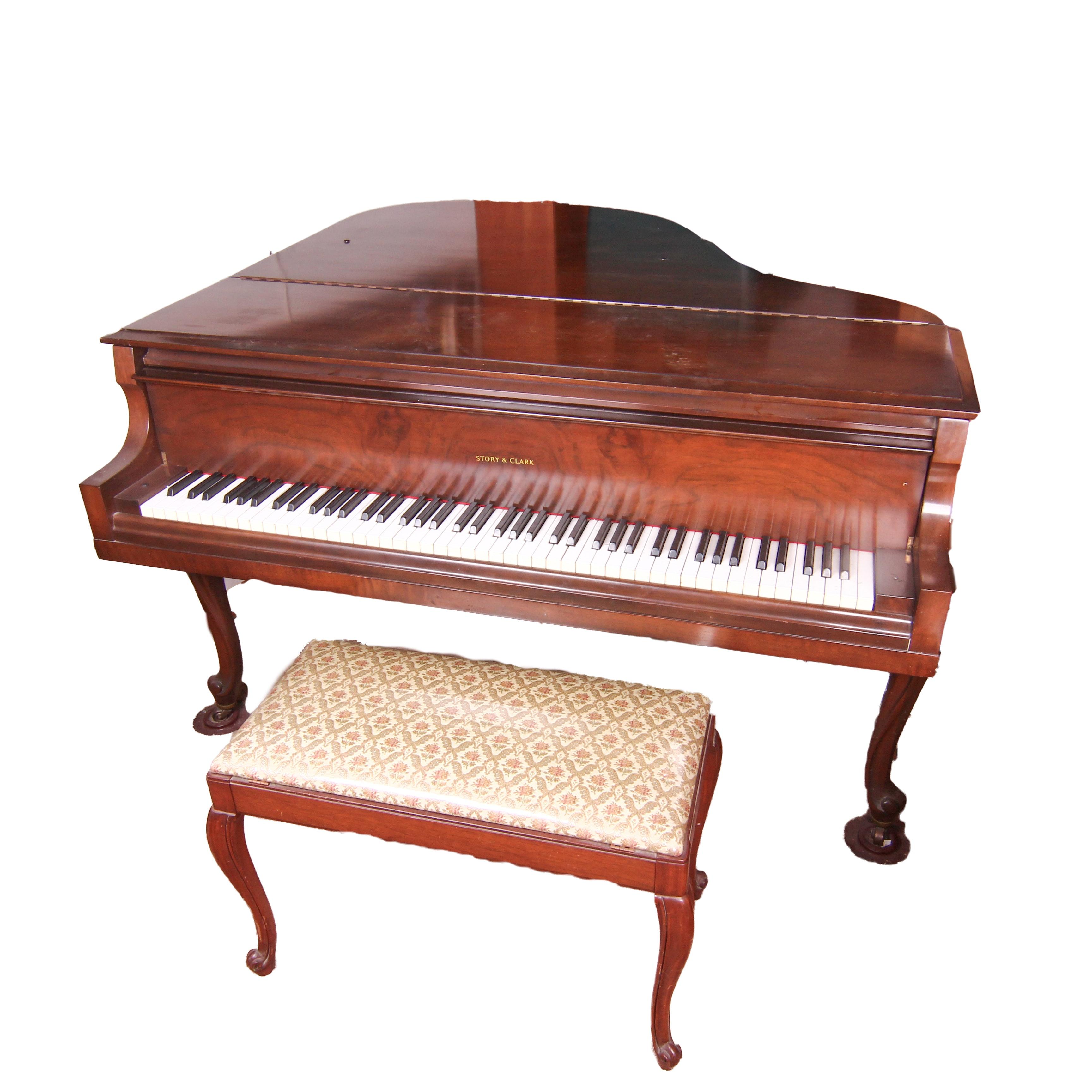 Story & Clark Petite Grand Piano with Mahogany Finish