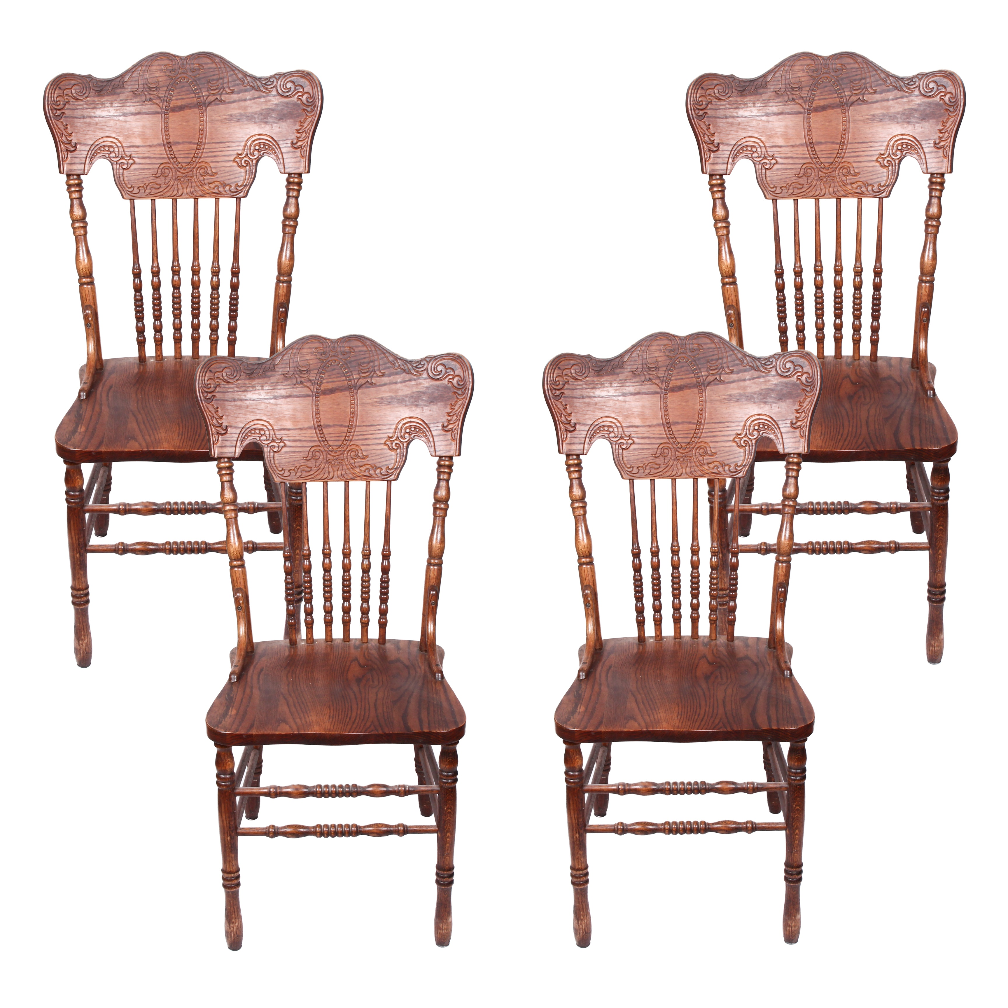Pressed Oak Dining Chairs