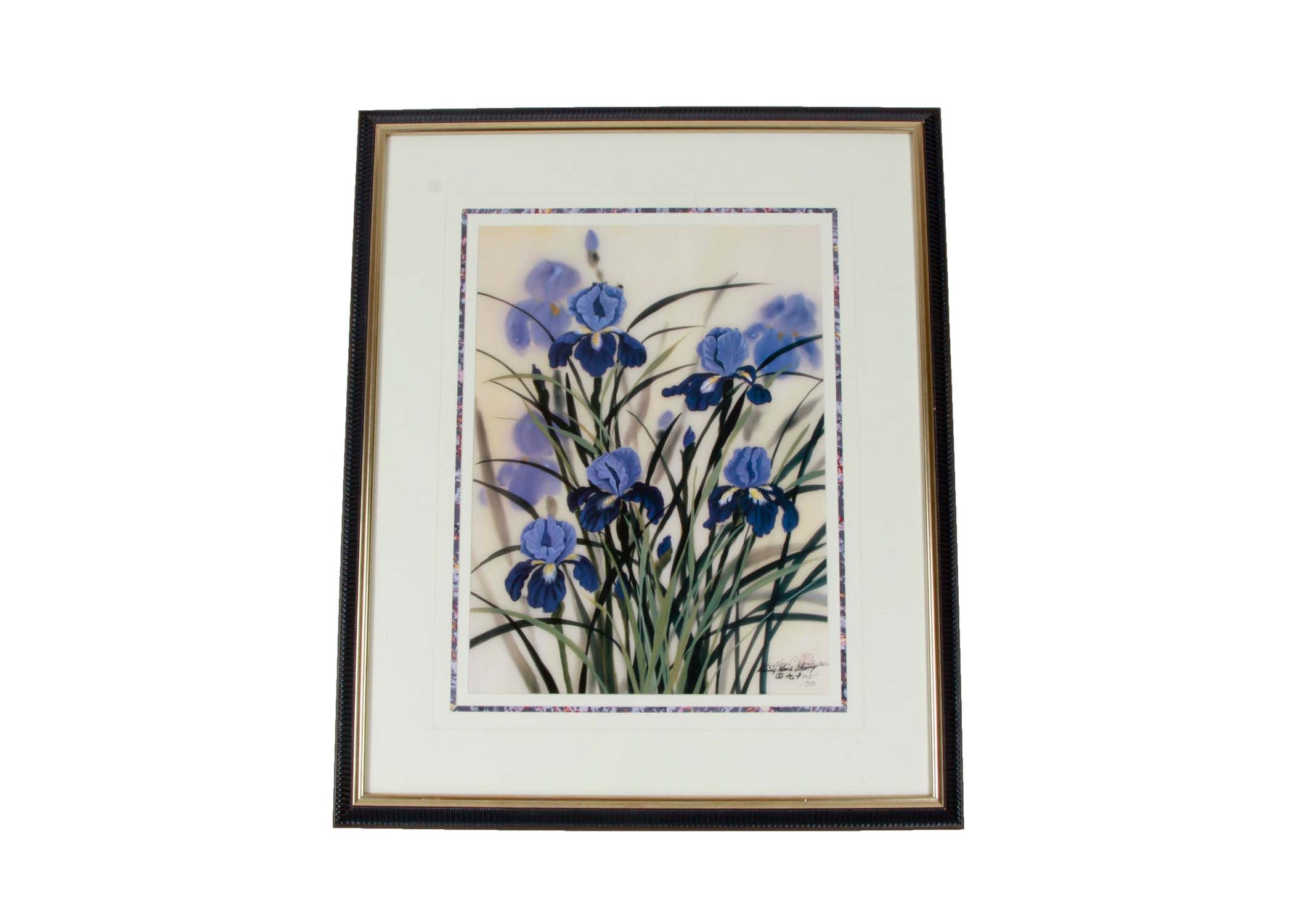 Hsing Hua Chang Limited Edition Offset Lithograph of Blue Irises