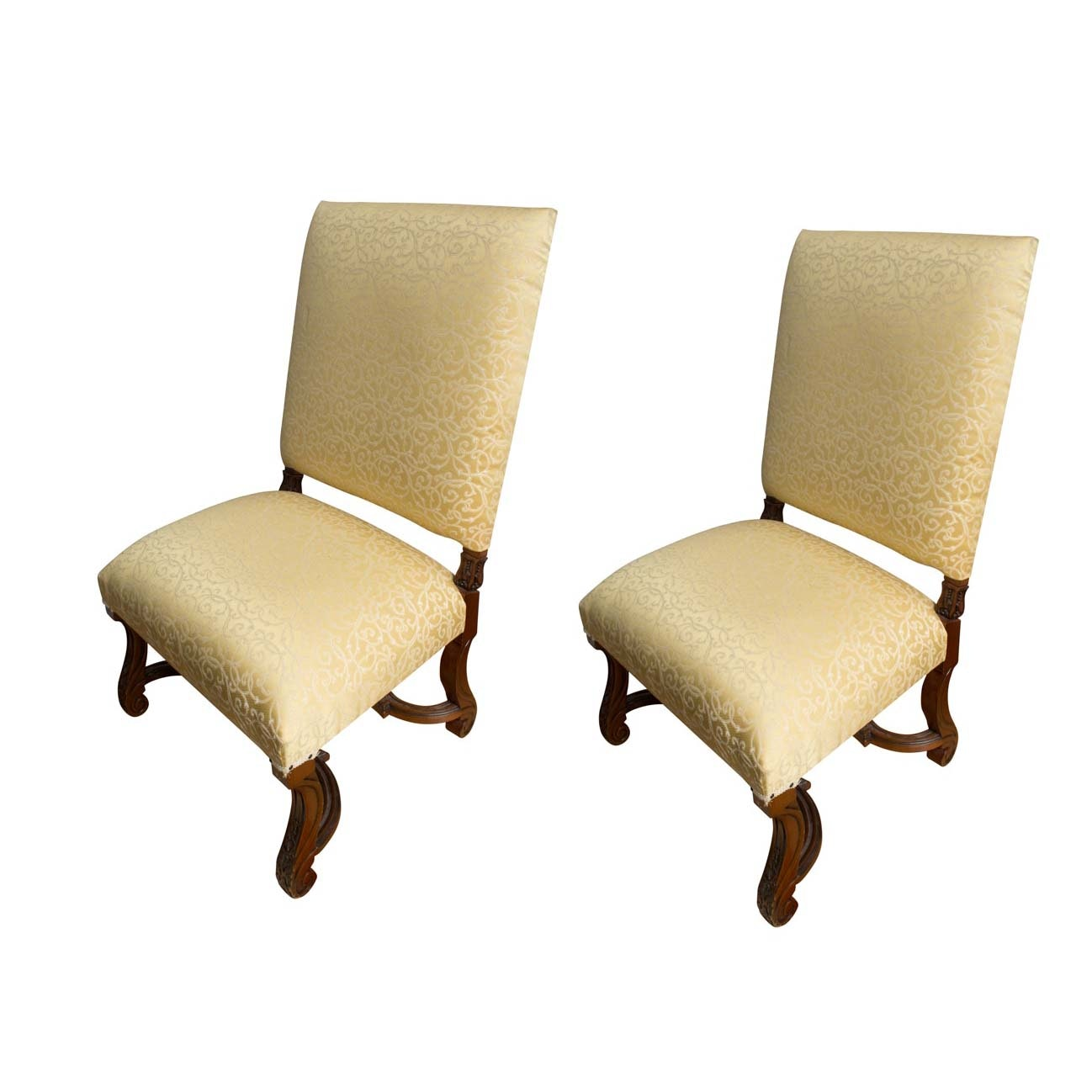Pair of Renaissance Revival Style Upholstered Chairs