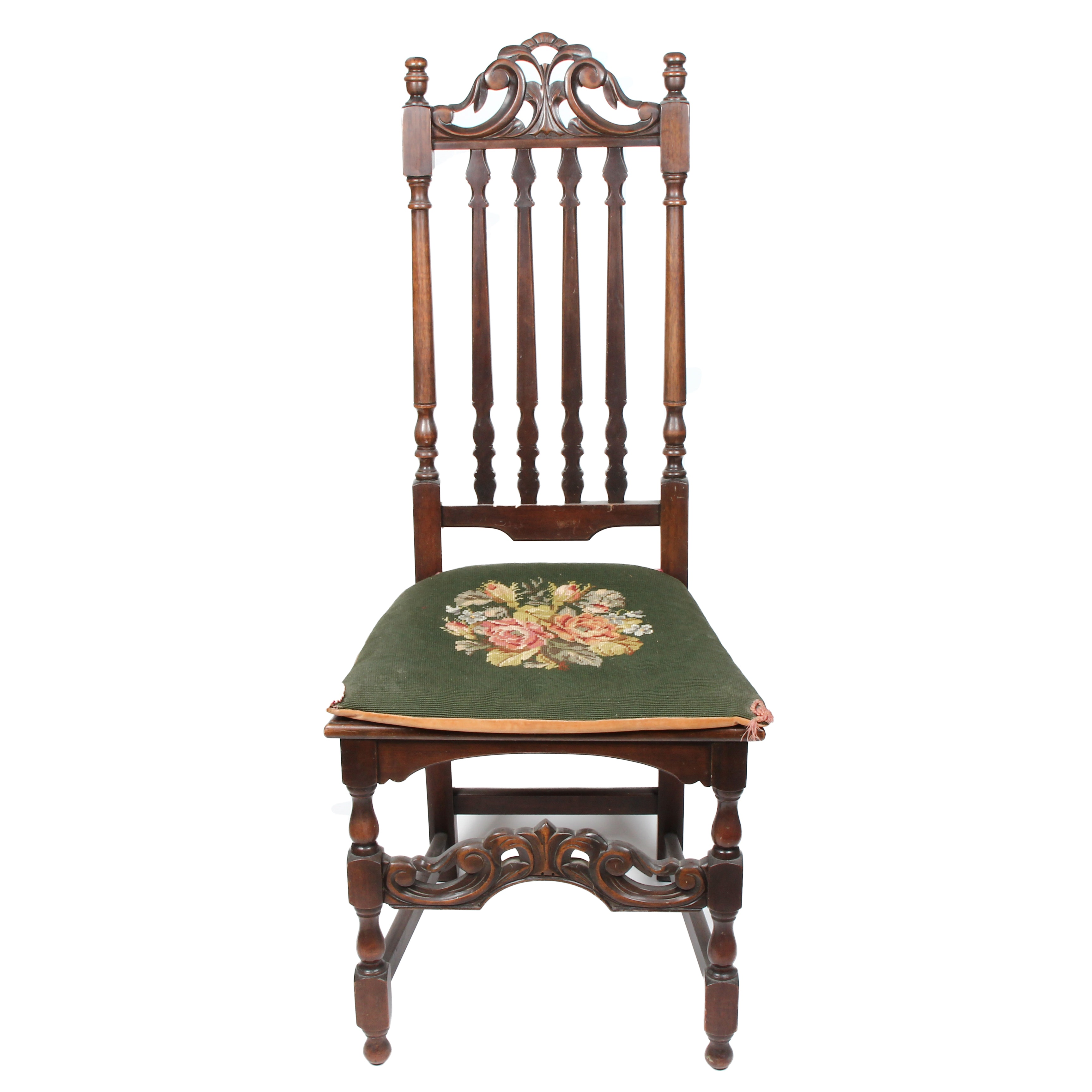 William and Mary Style Side Chair With Needlepoint Cushion