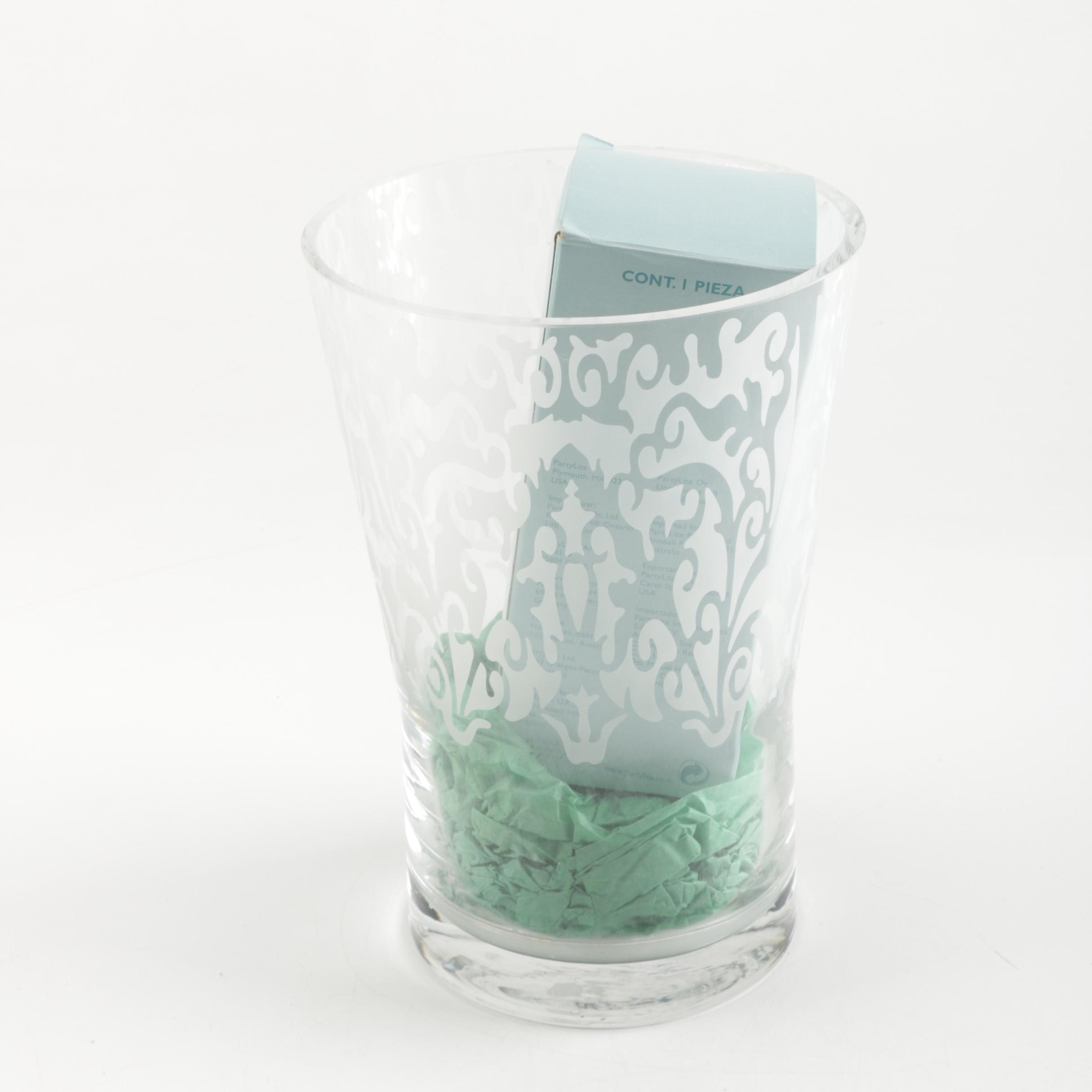 PartyLite Frosted Glass Hurricane Style Candle Holder