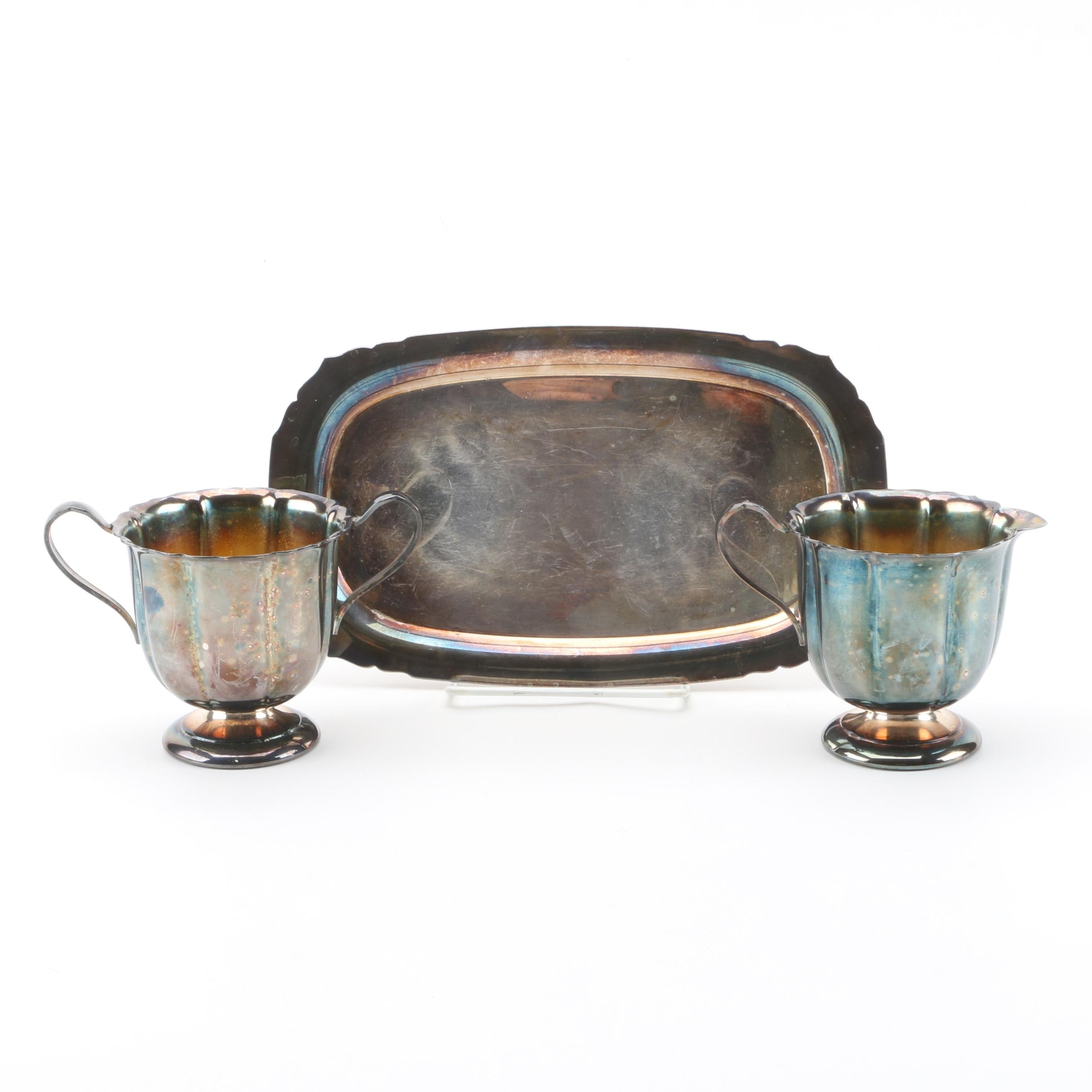 International Silver Co. Silver Plate Creamer and Sugar Set with Wm. Rogers Tray