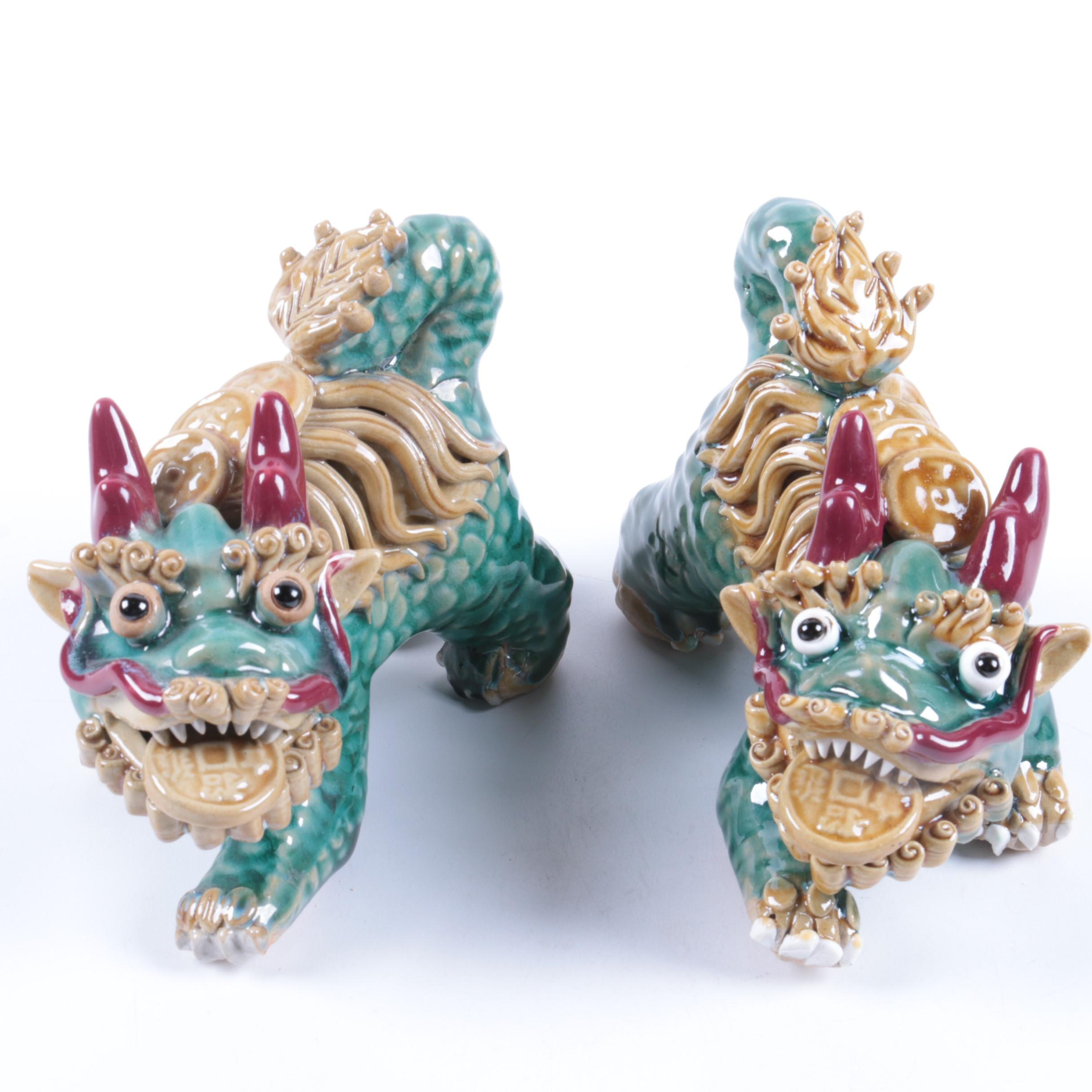 Chinese Ceramic Three-Glaze Good Fortune Guardian Lion Figurines