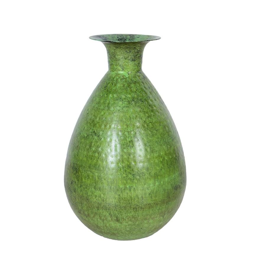Green Hammered Metal Floor Vase