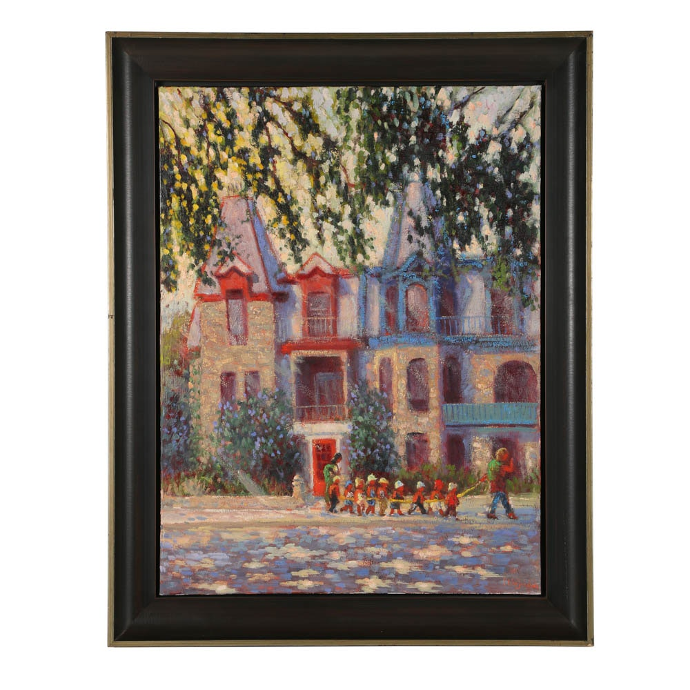 "Pierre Desjardins Oil Painting on Canvas ""Victoriennes du Carre St Louis..."""