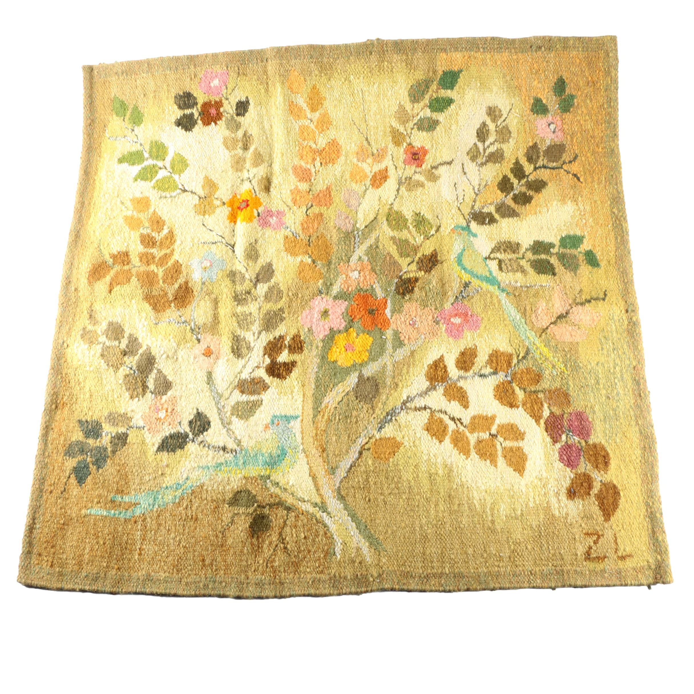 Handwoven Signed Polish Floral Accent Rug/Wall Hanging