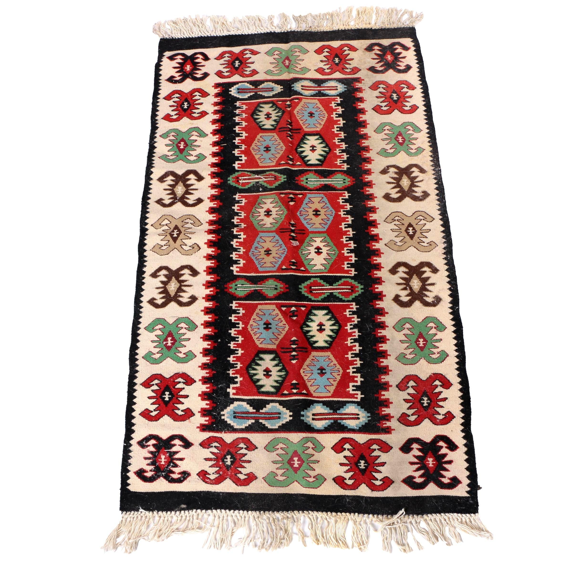 Handwoven Anatolian Kilim Wool Accent Rug