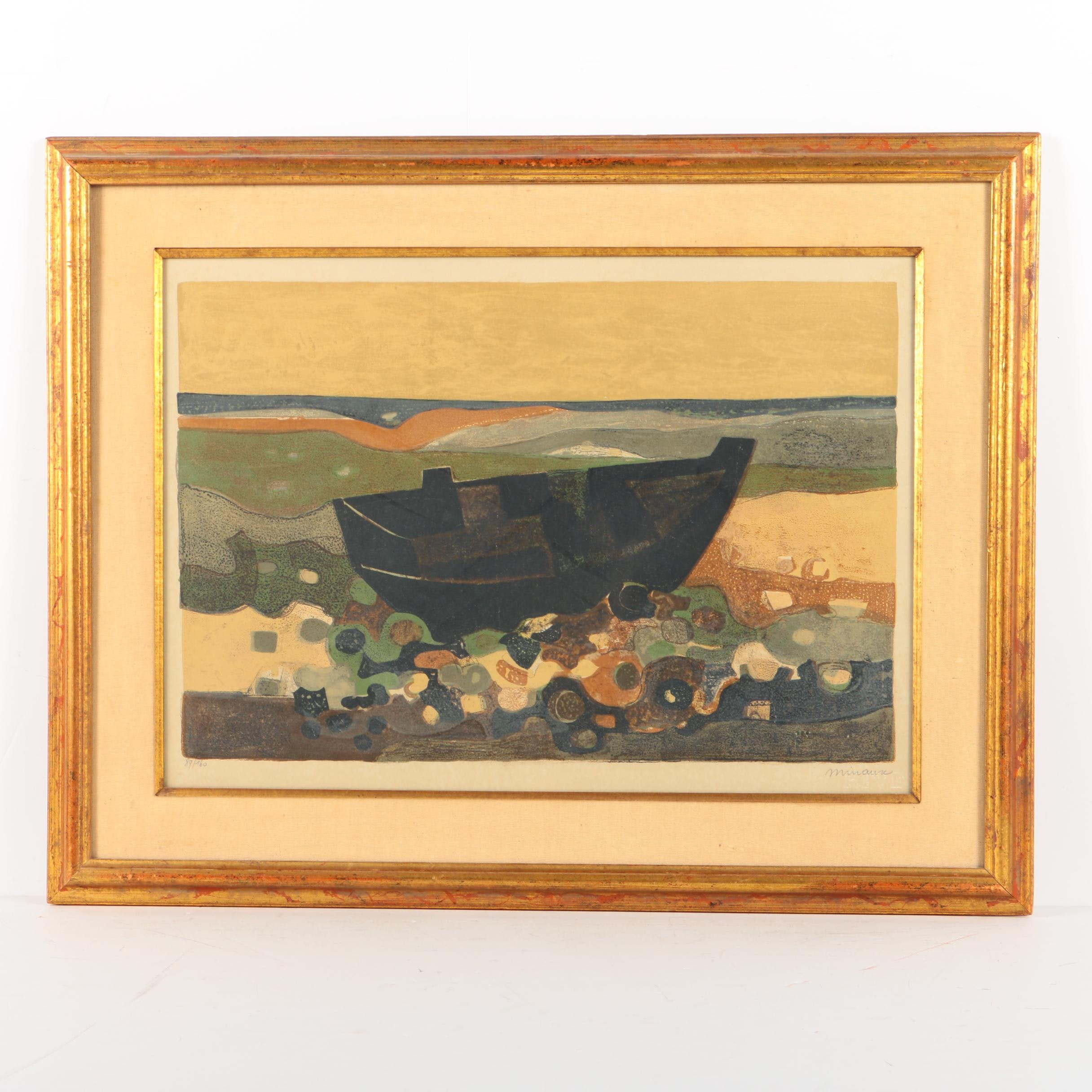 Limited Edition Lithograph on Paper of a Boat