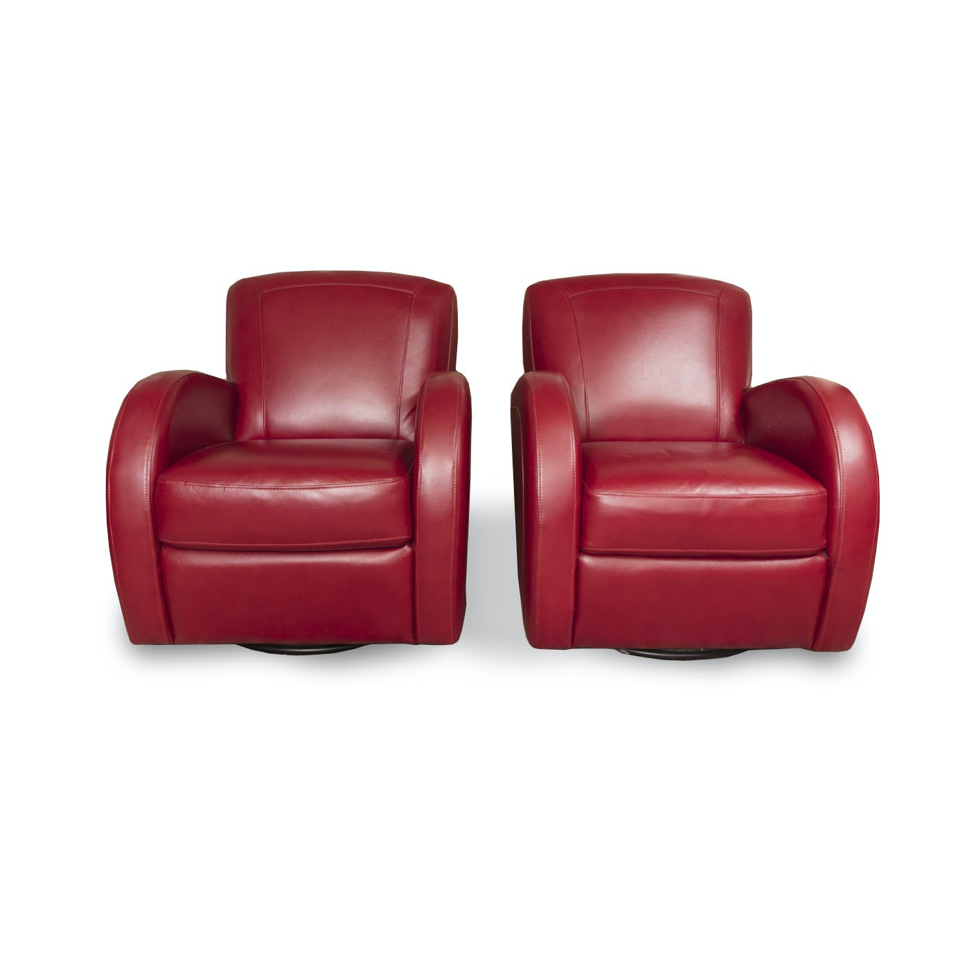 Pair Of Red Leather Club Chairs By Superb Creation Ltd. ...