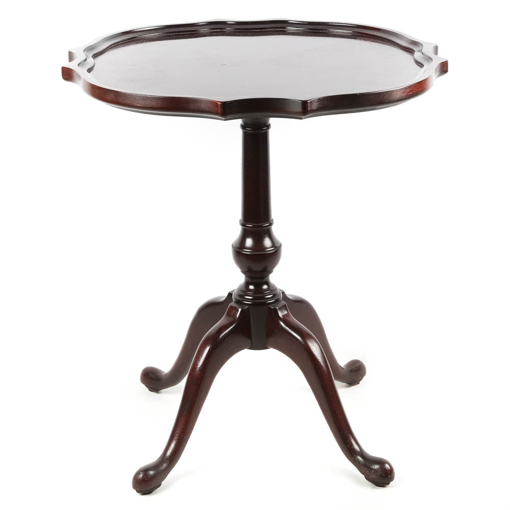 Vintage Queen Anne Style Mahogany Pie Crust Table by Thomasville Furniture