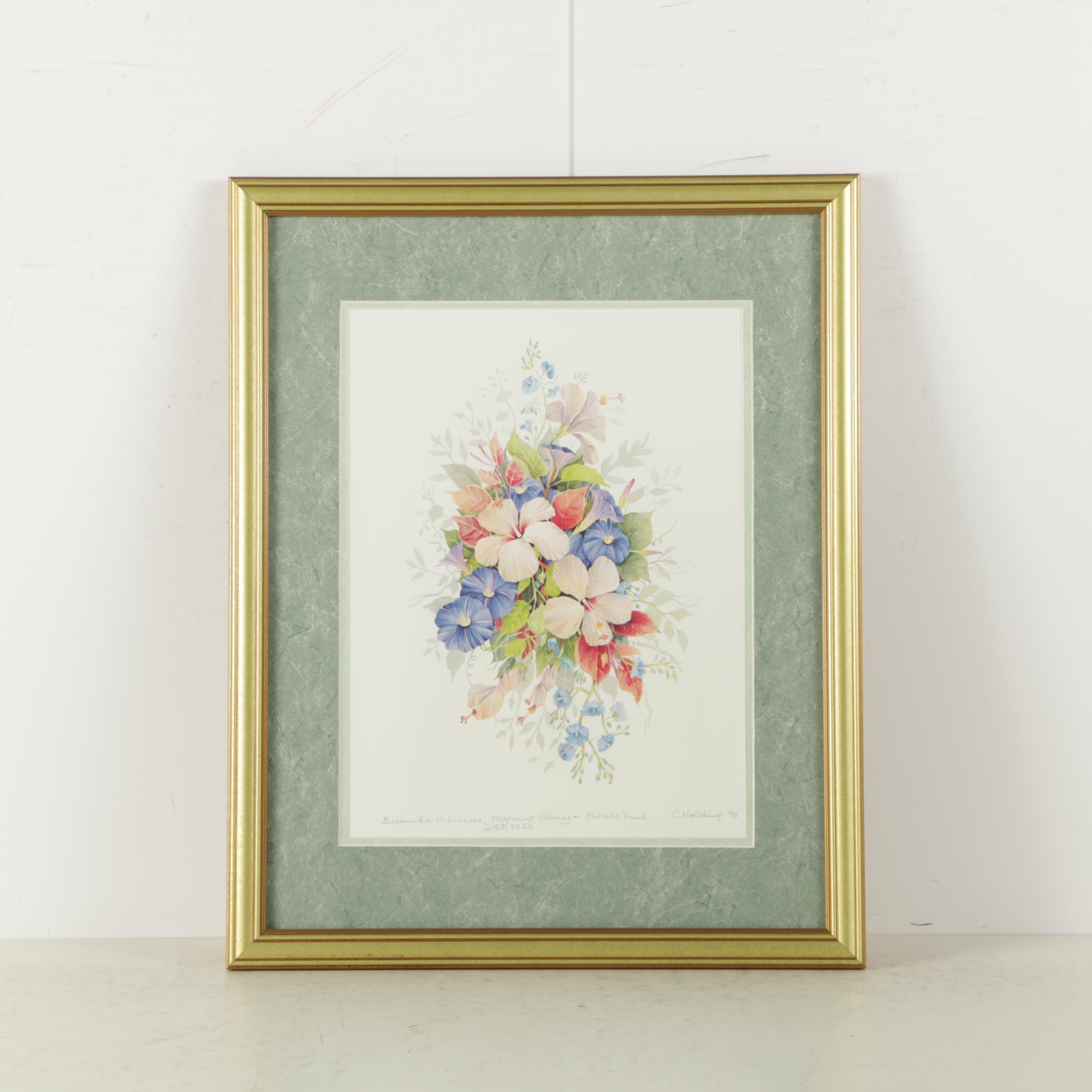 Carole Holding Limited Edition Reproduction Print on Paper of Flowers