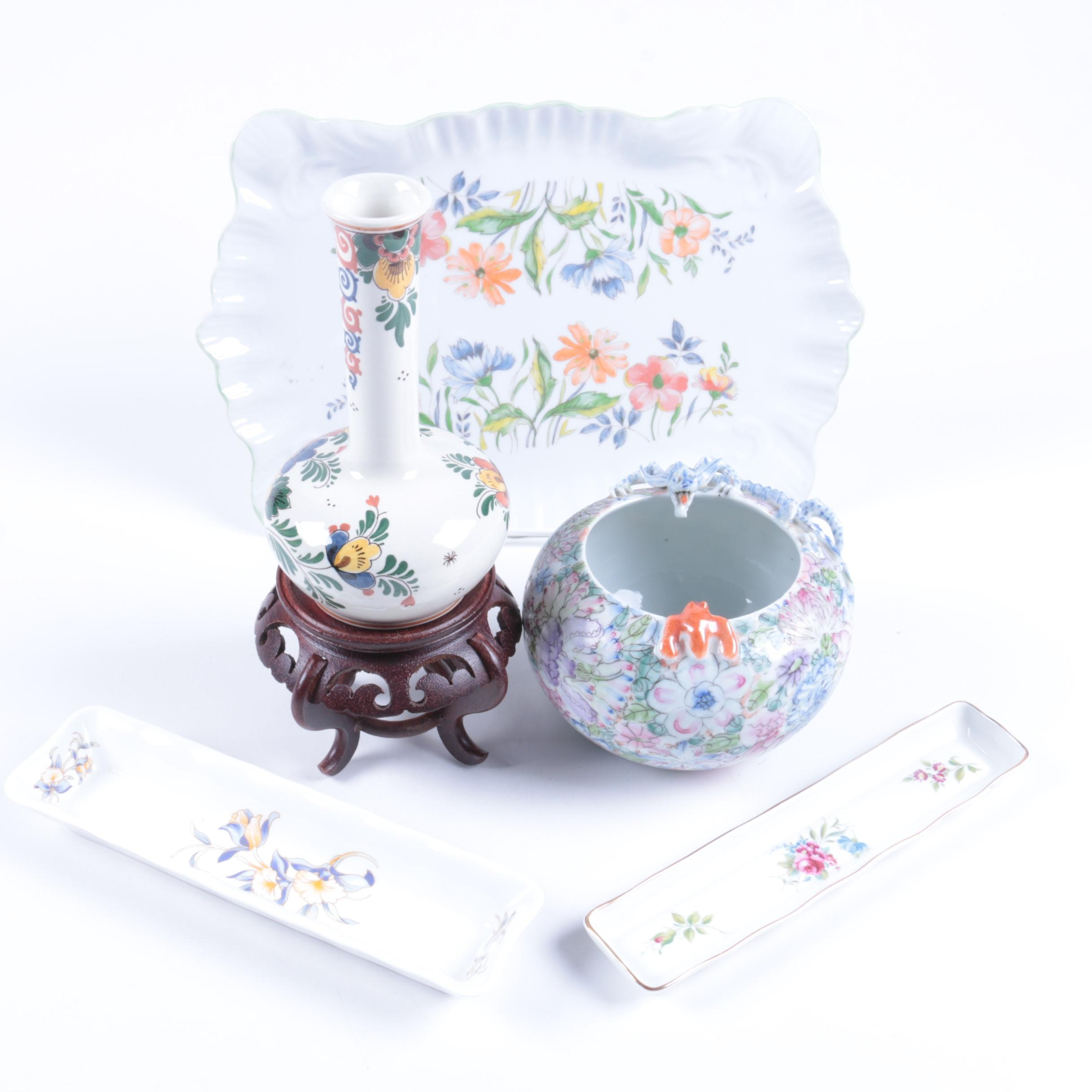 Floral Themed Porcelain and Ceramic Decor including Aynsley