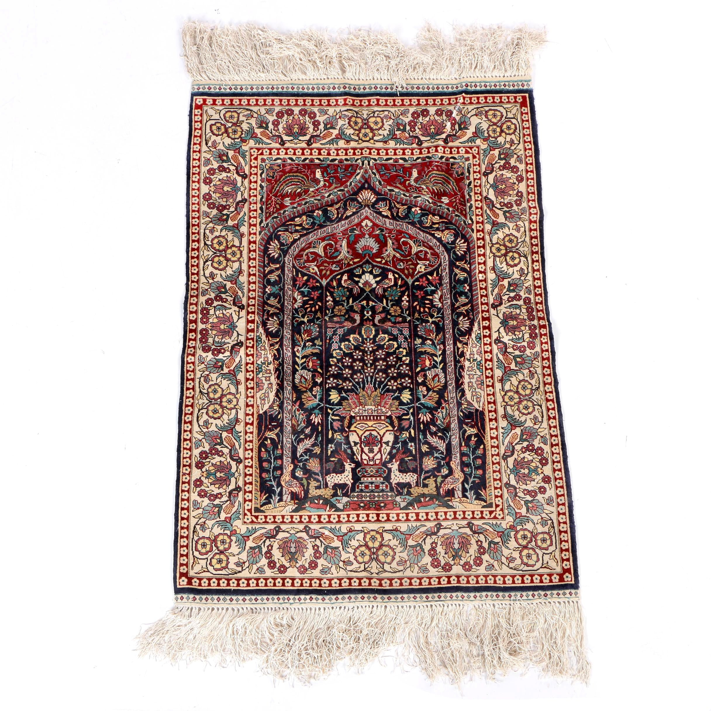 Finely Hand-Knotted Turkish Garden Silk Prayer Rug