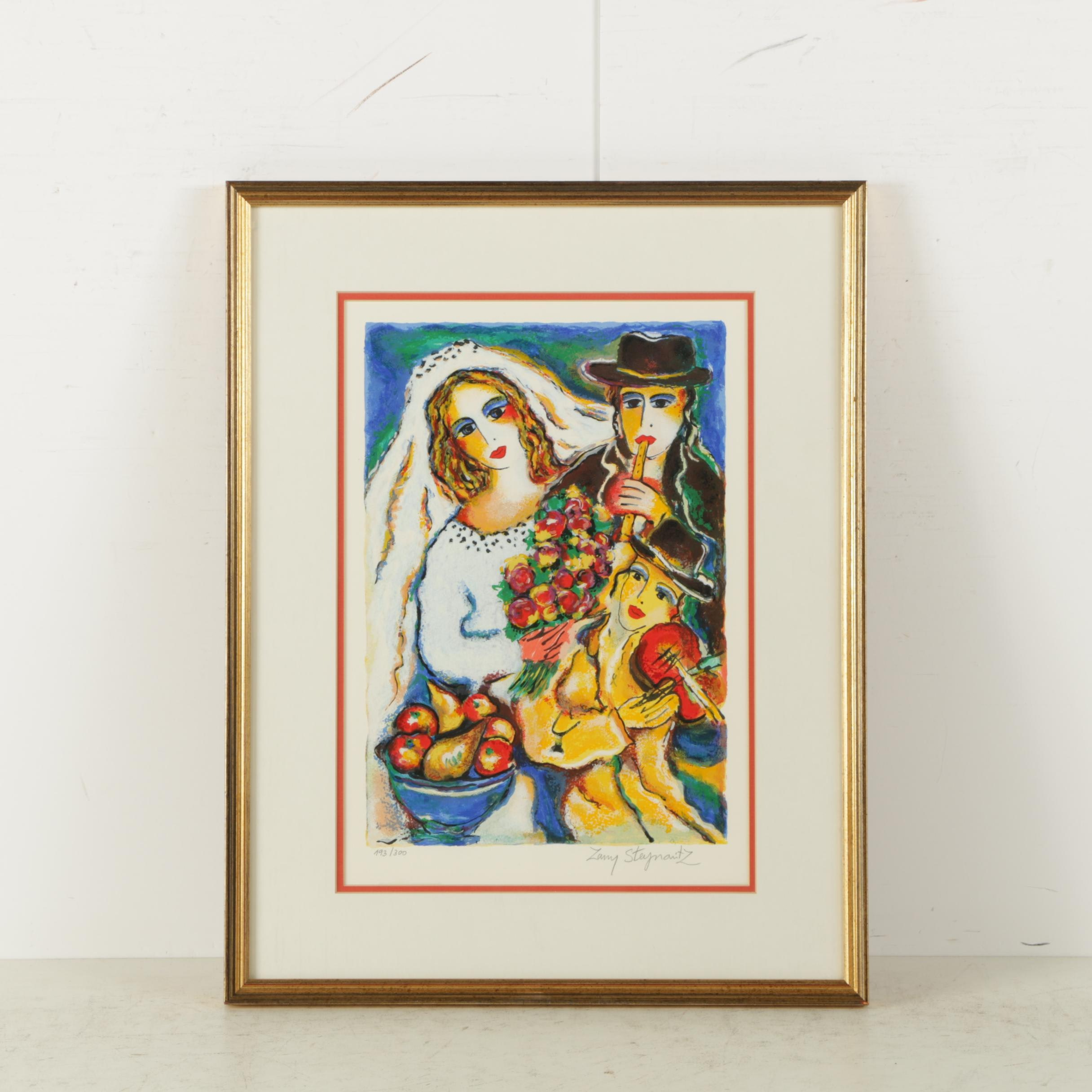 "Zamy Steynovitz Limited Edition Serigraph on Paper ""Bride with Musicians"""