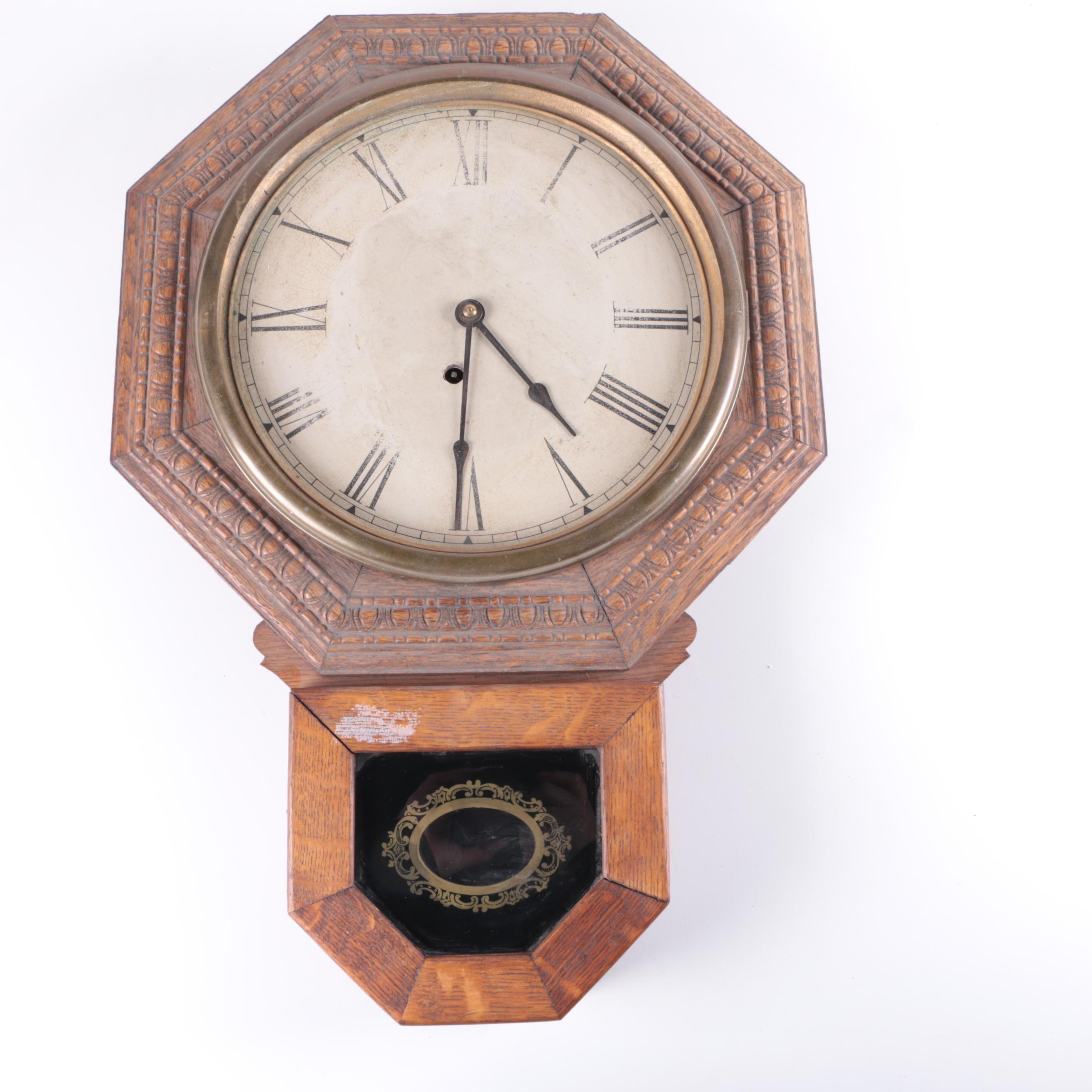 Vintage E. Ingraham Co. Regulator Style Wall Clock