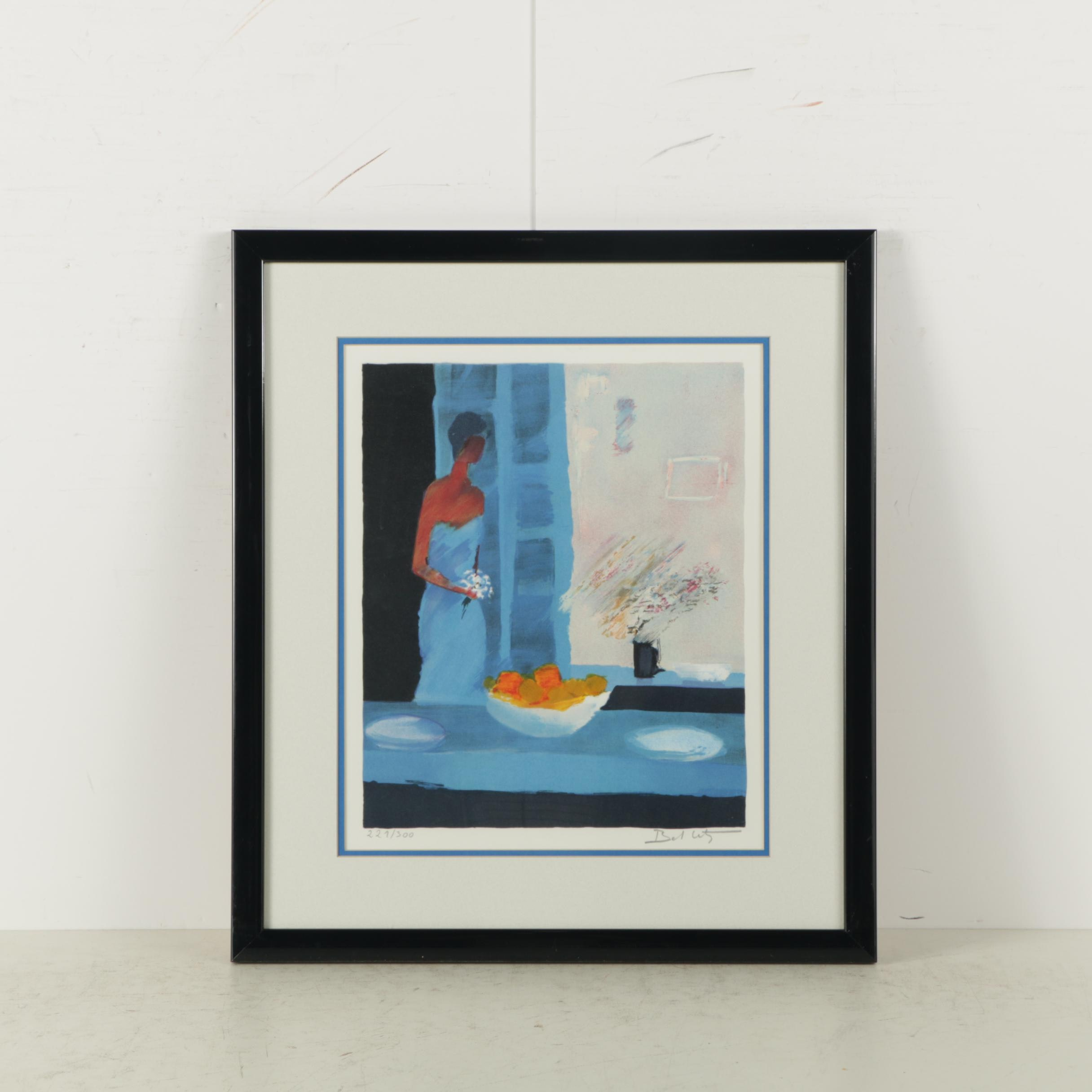 "Emile Bellet Limited Edition Serigraph on Paper ""Fiancée en Robe Bleu"""