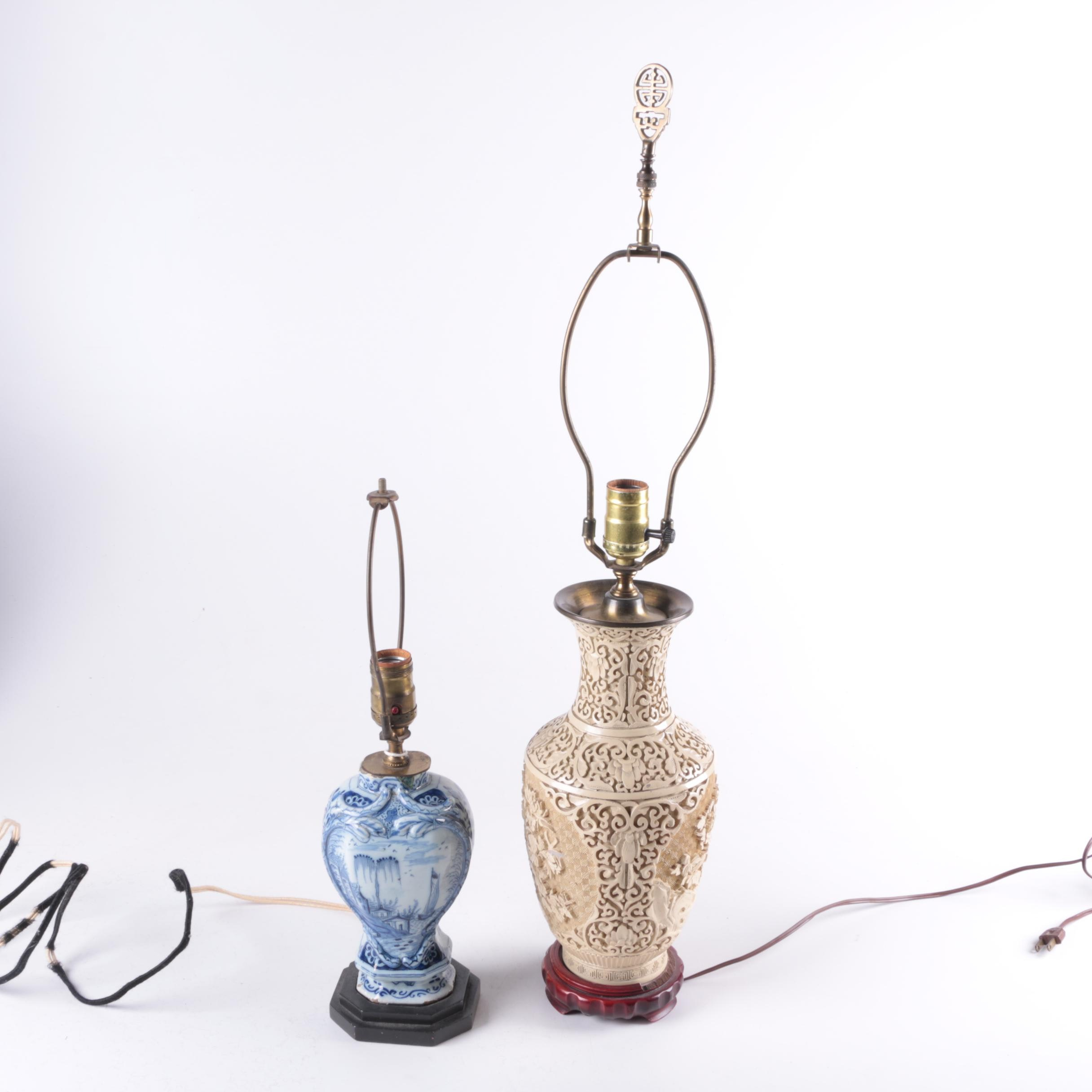 Pair of Asian White Cinnabar Lamps