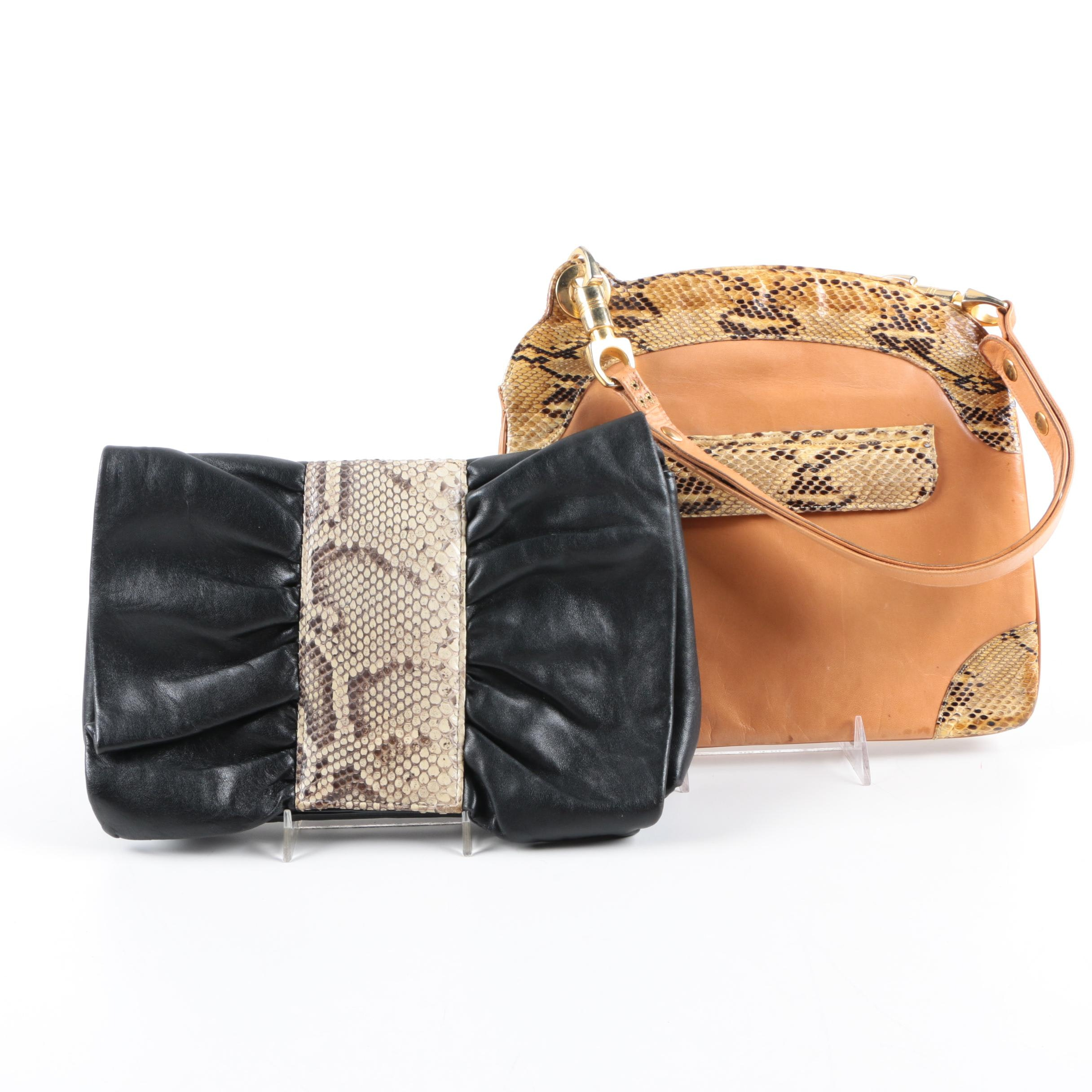 Vintage Leather and Python Trimmed Handbags