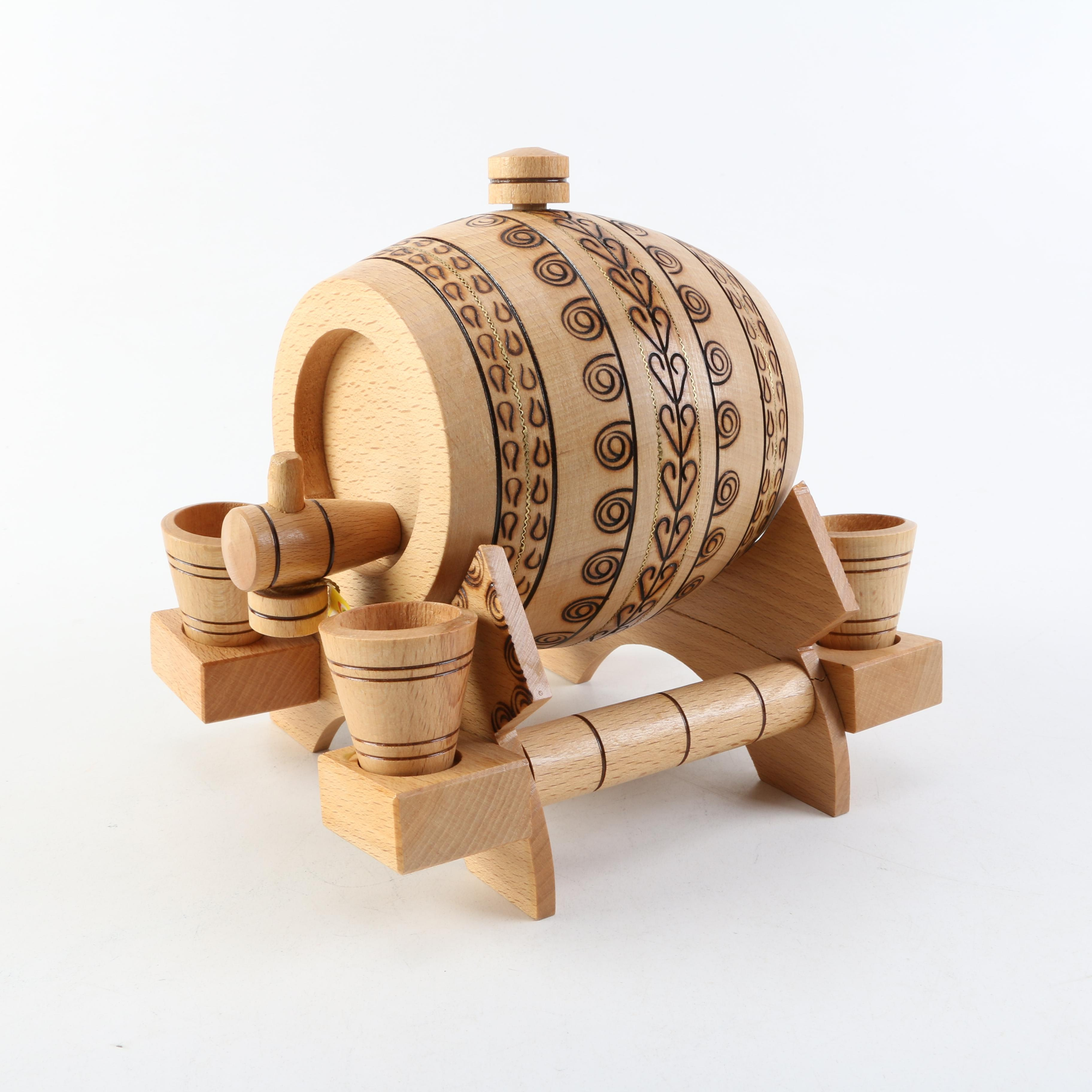Small Wooden Decorative Keg and Cups