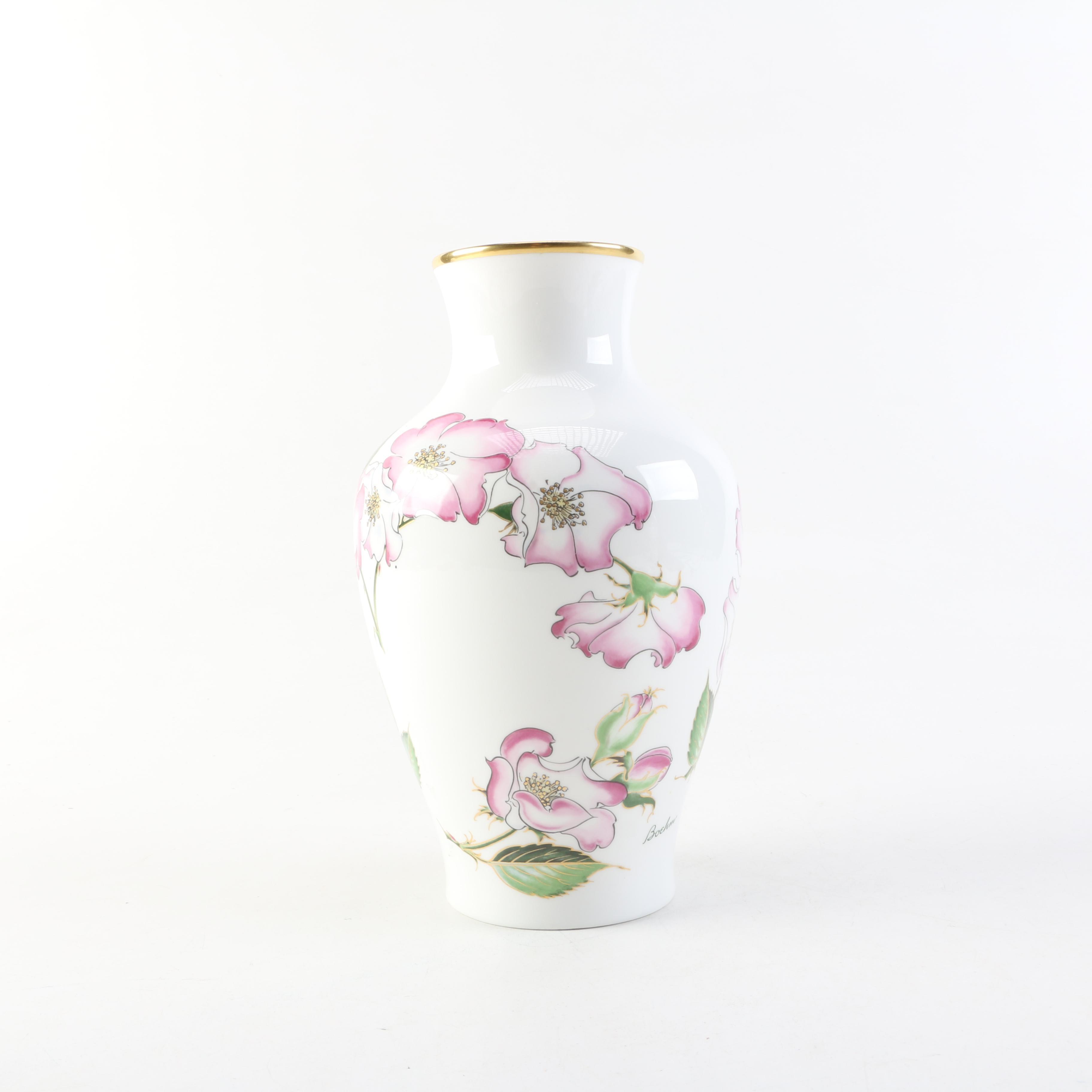 """Hand-Painted Porcelain """"Ballerina Rose"""" Boehm Floral Vase"""
