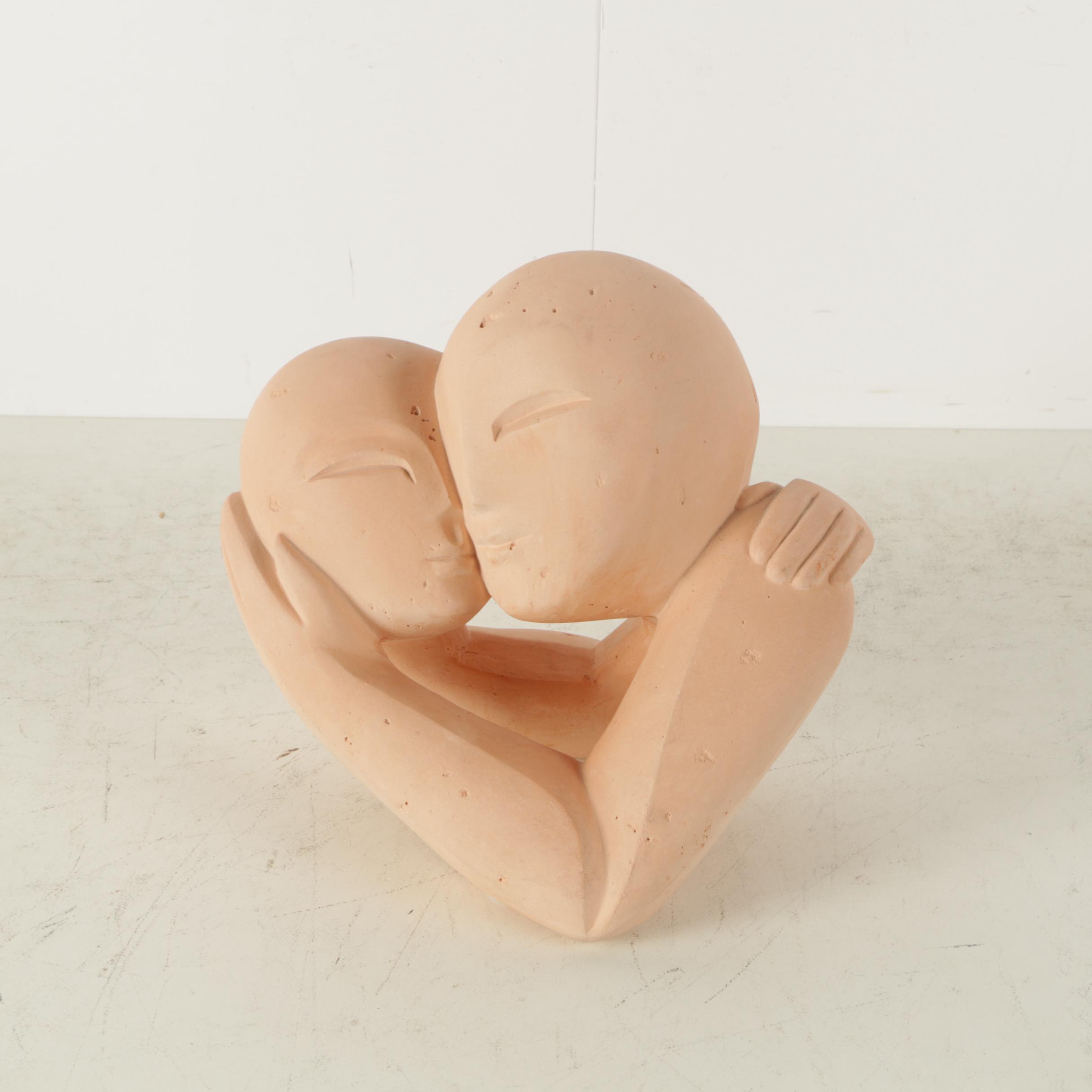Karen Swilden Ceramic Sculpture of an Embracing Couple
