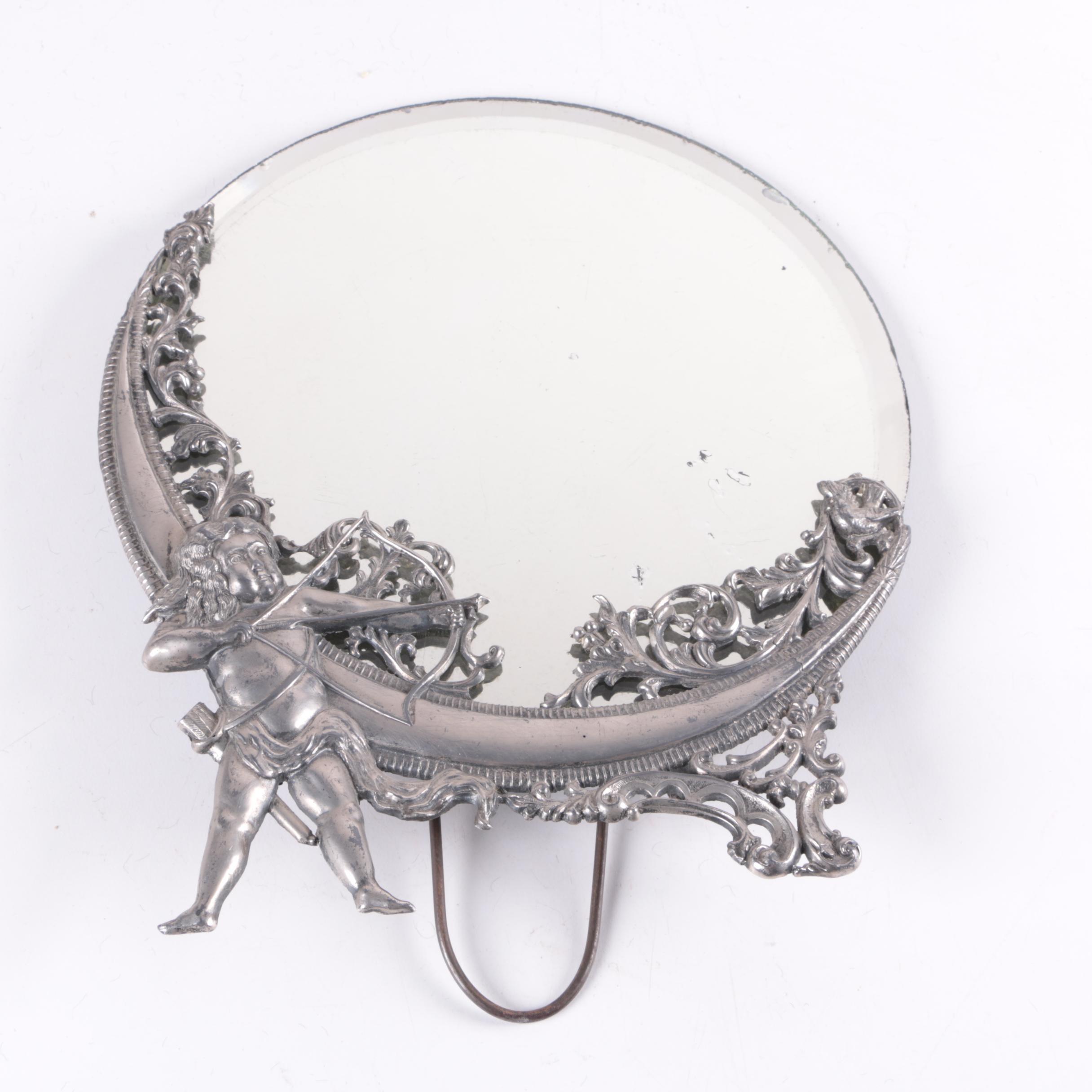 Vintage Cupid and Crescet Moon Motif Vanity Table Top Mirror