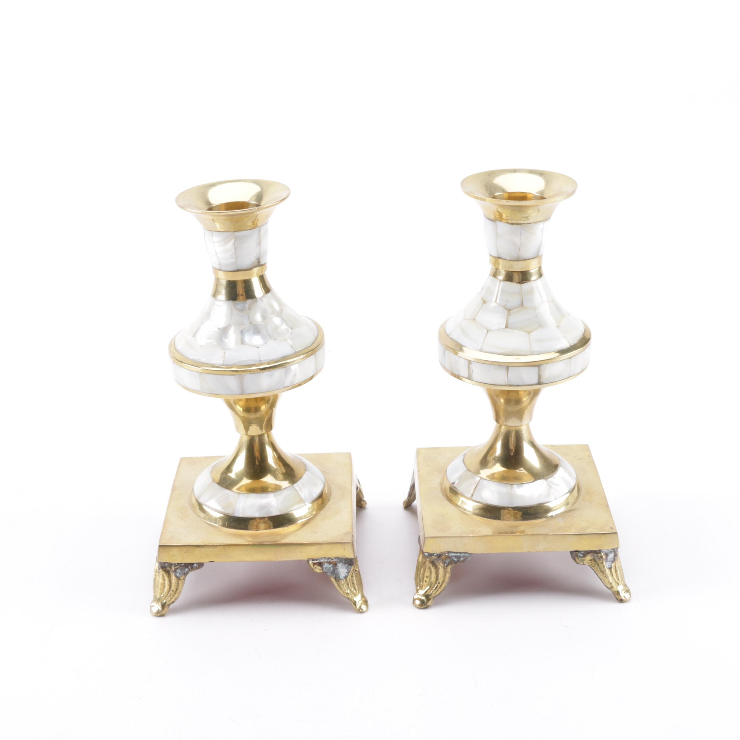 Brass and Mother of Pearl Candlesticks