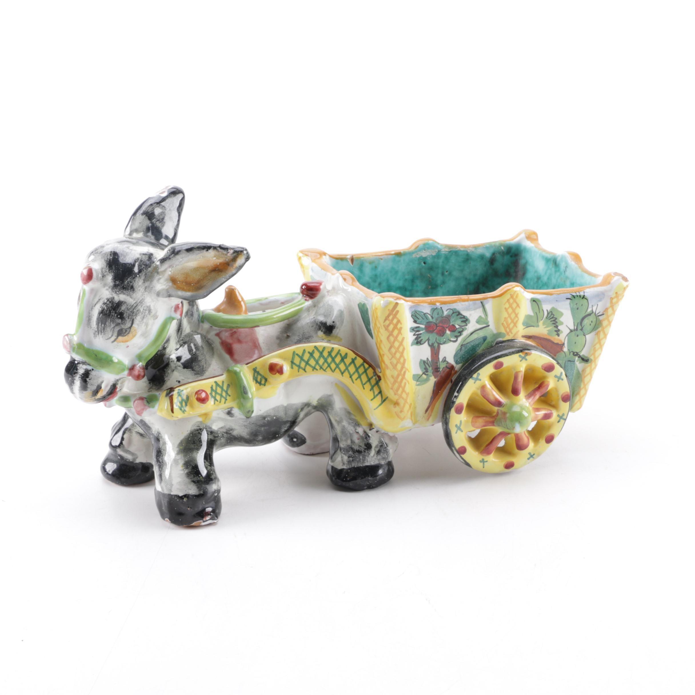 Vintage Italian Glazed Terra Cotta Donkey and Cart Figurine