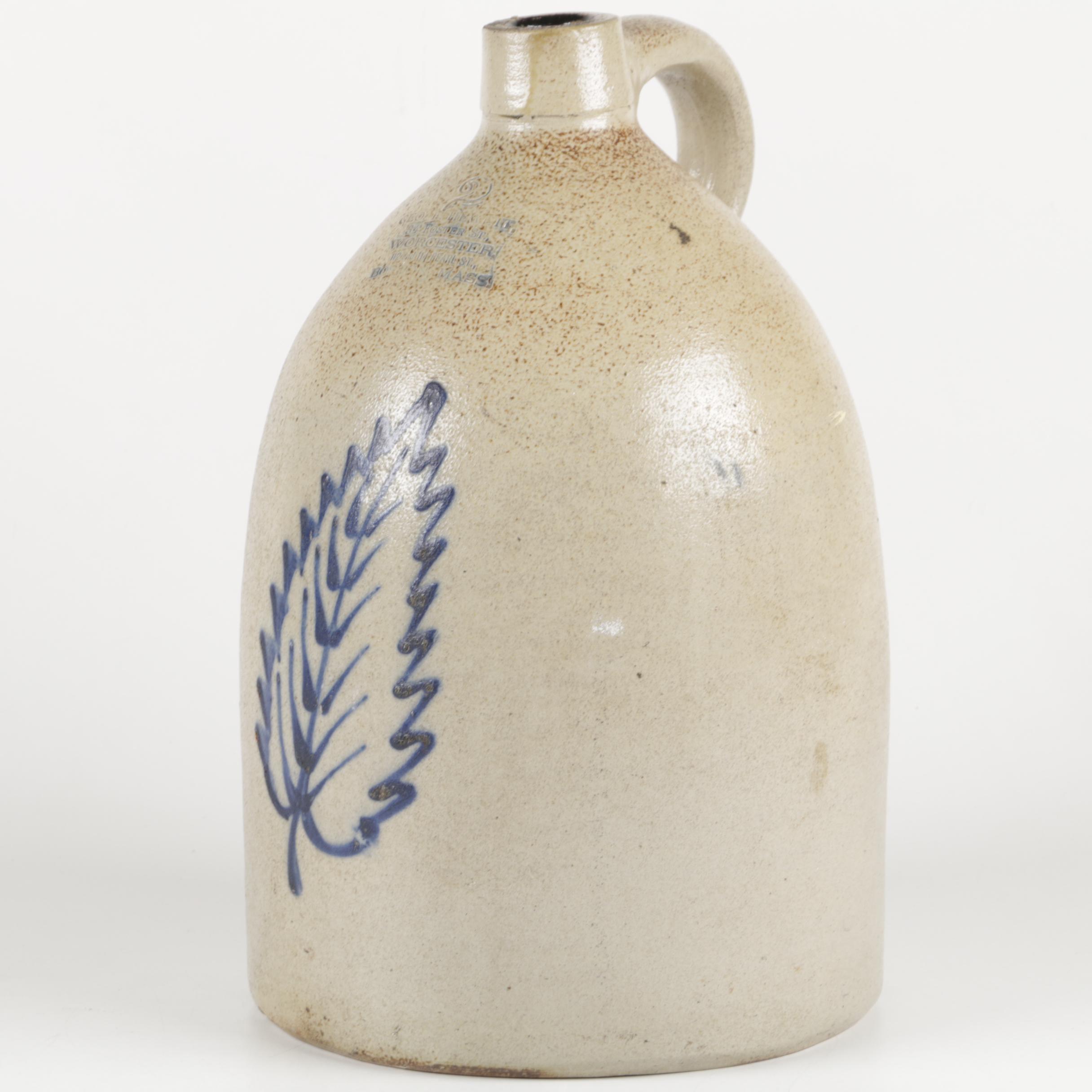 George Hewett Boston Blue Decorated Salt Glazed Stoneware Jug