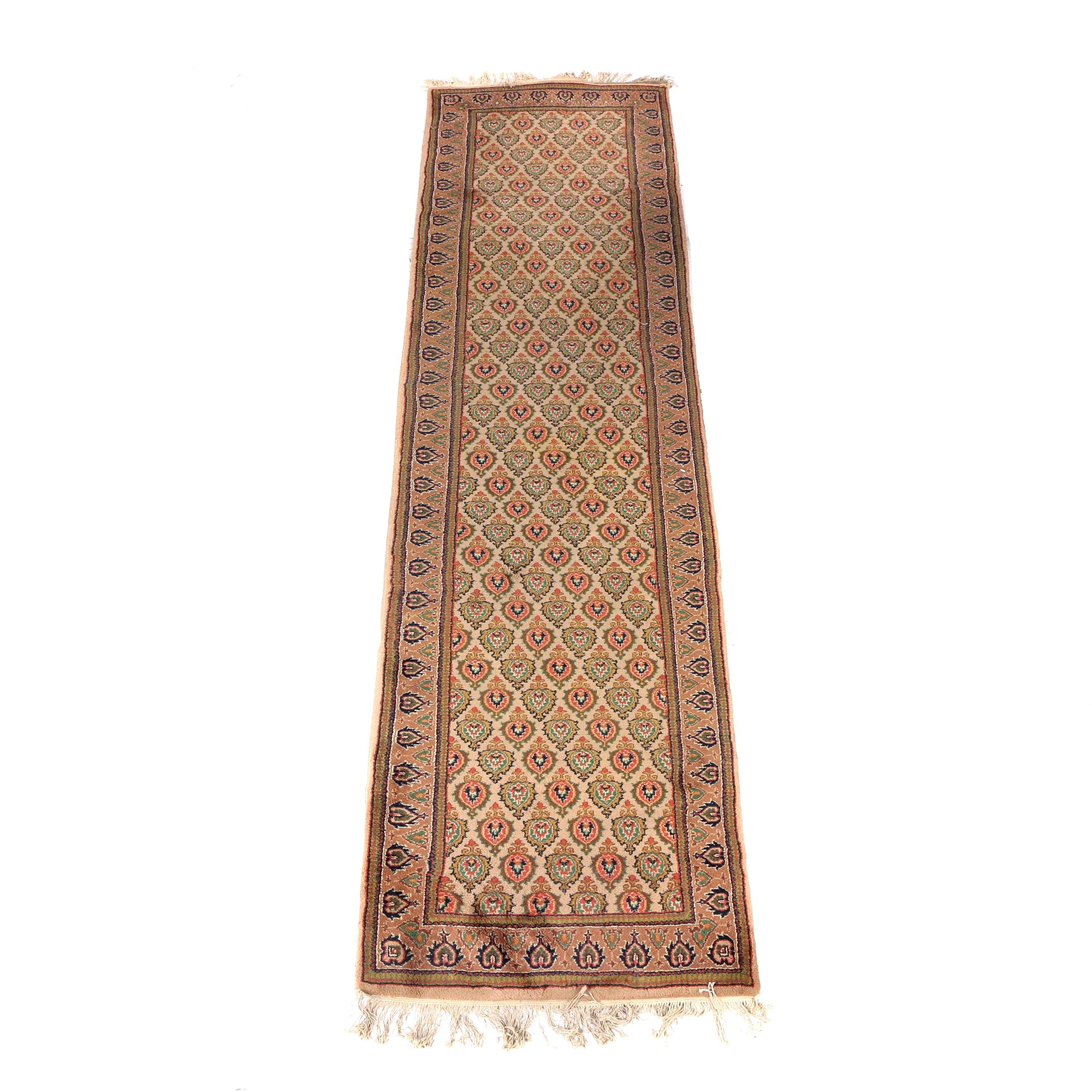Hand-Knotted Indo-Persian Mir-A-Boteh Carpet Runner