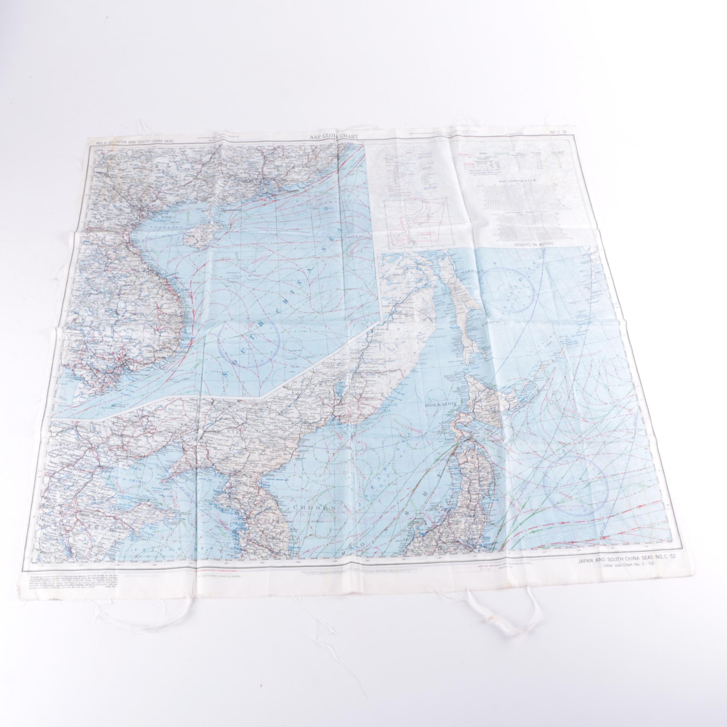 1945 USAAF Rayon Escape Map of Japan and China Seas