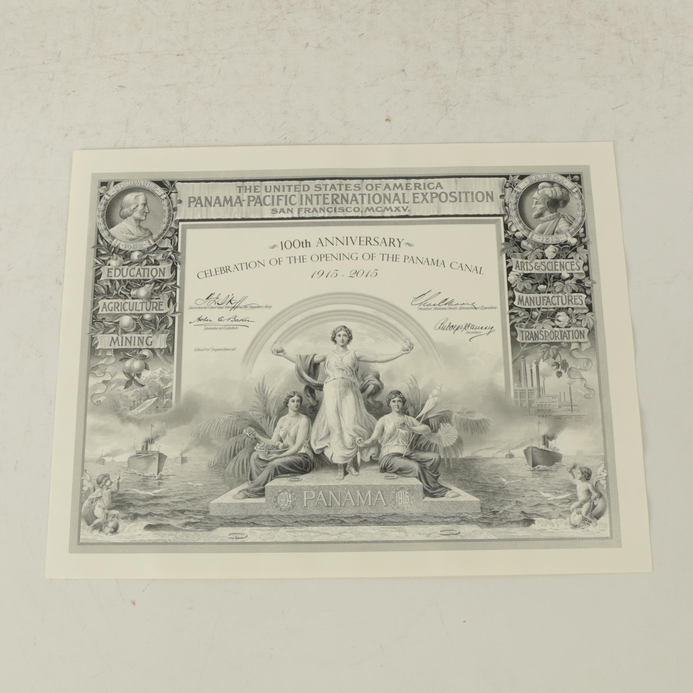 100th Anniversary Panama Canal Engraving on Paper by M. W. Baldwin