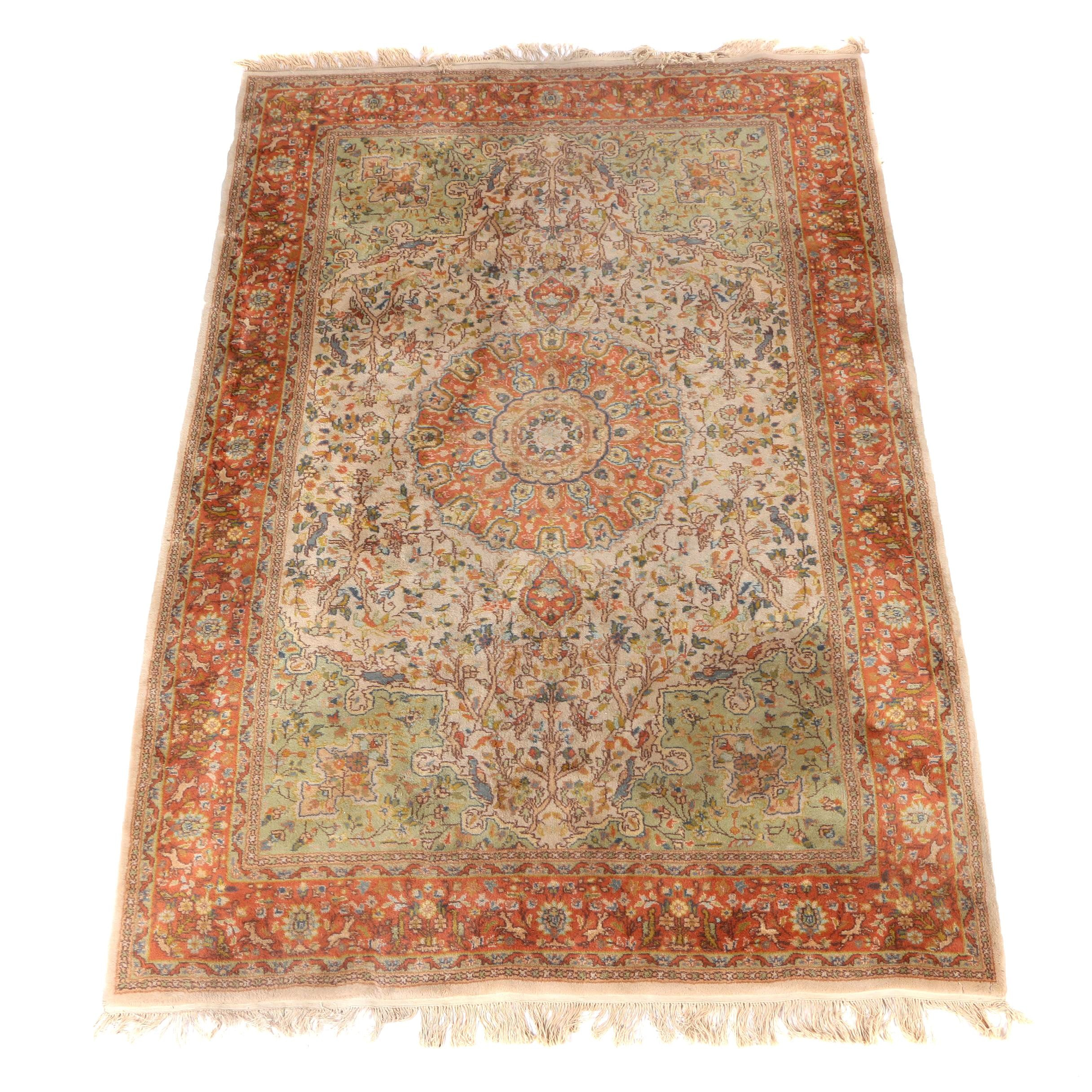 Hand-Knotted Indian Royal Jahan Tabriz-Style Pictorial Wool Area Rug