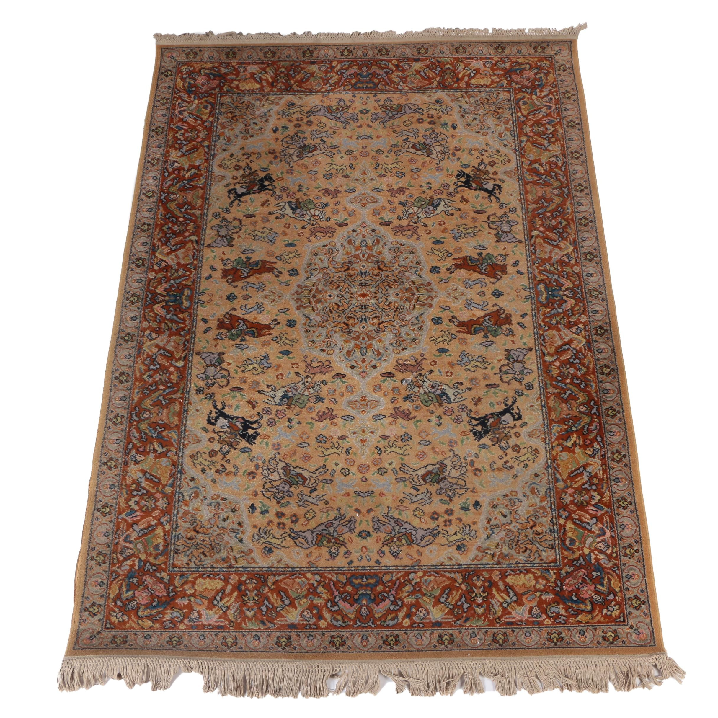 Machine Made Persian Qum Style Area Rug