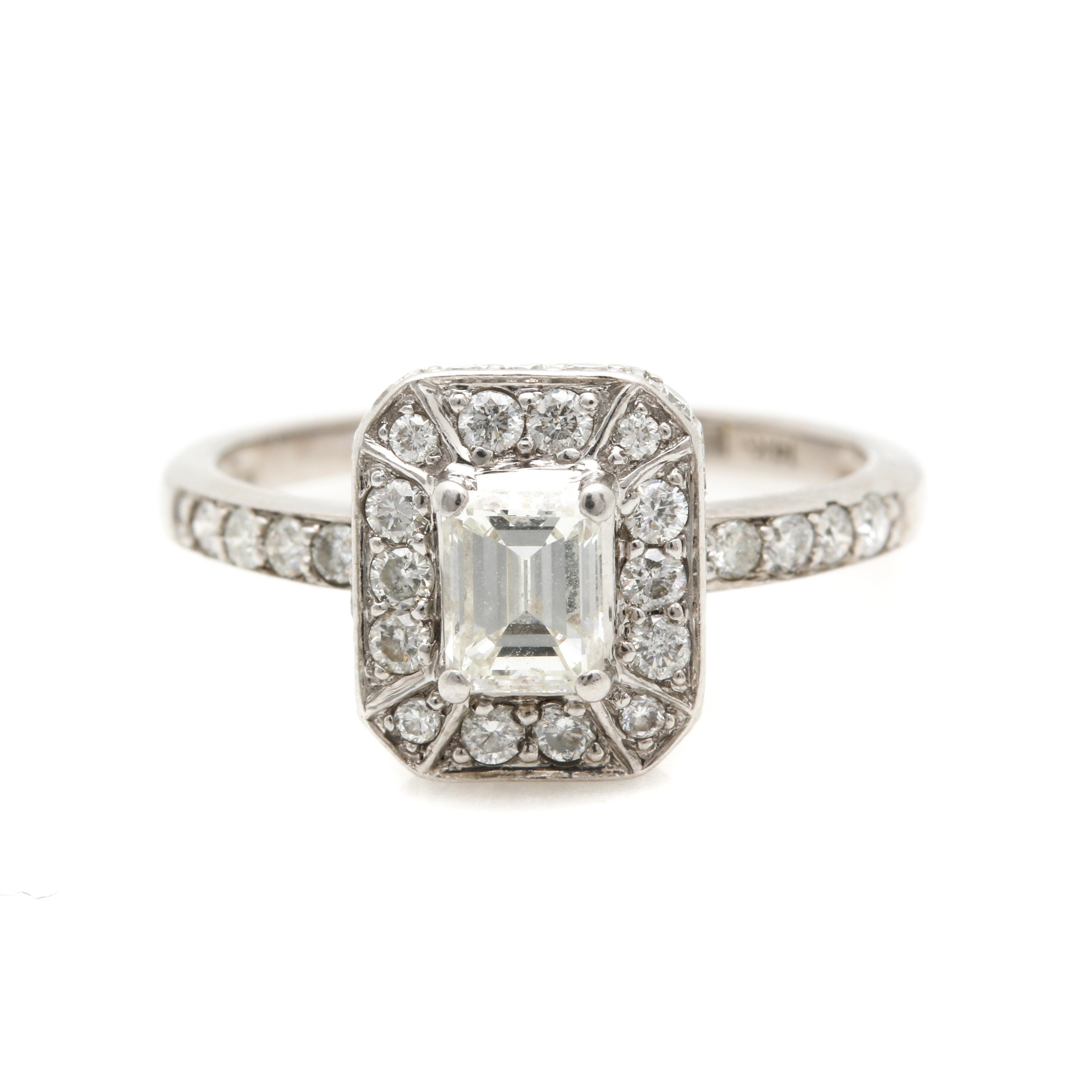 14K White Gold 0.98 CTW Diamond Ring