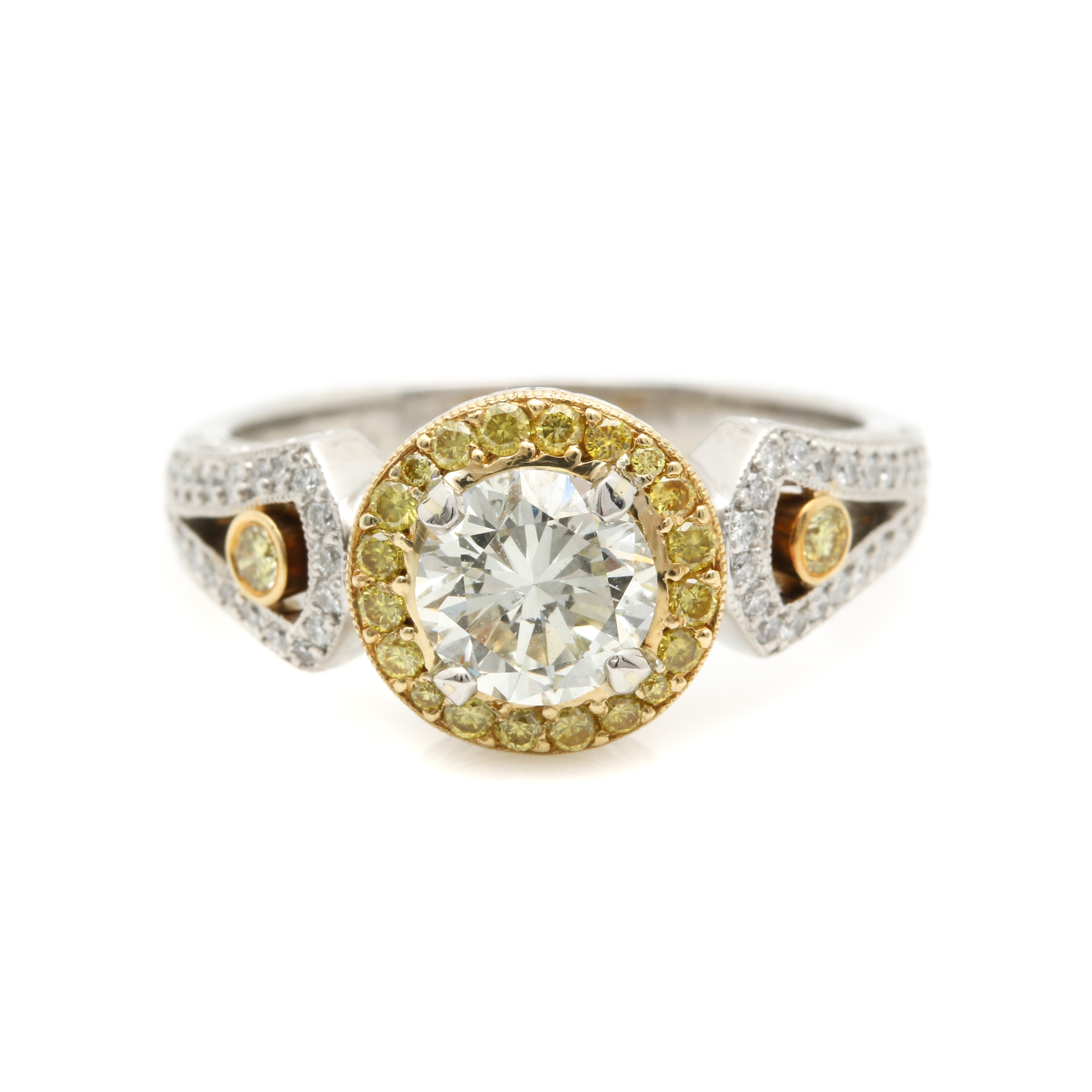 Michael Beaudry Platinum 1.38 CTW Diamond Ring with 18K Yellow Gold Accents