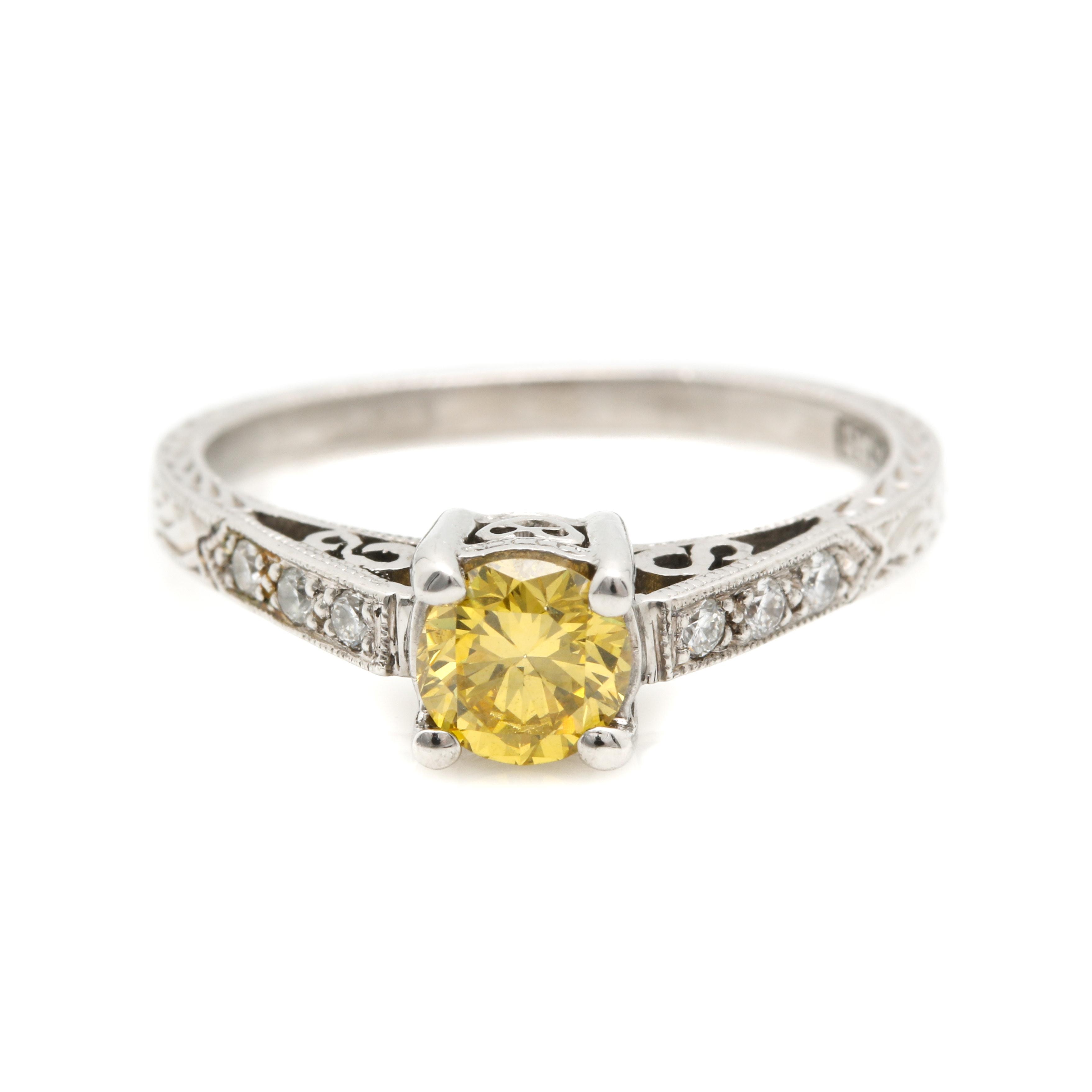 Tacori 18K White Gold 0.51 CT Yellow Diamond Ring