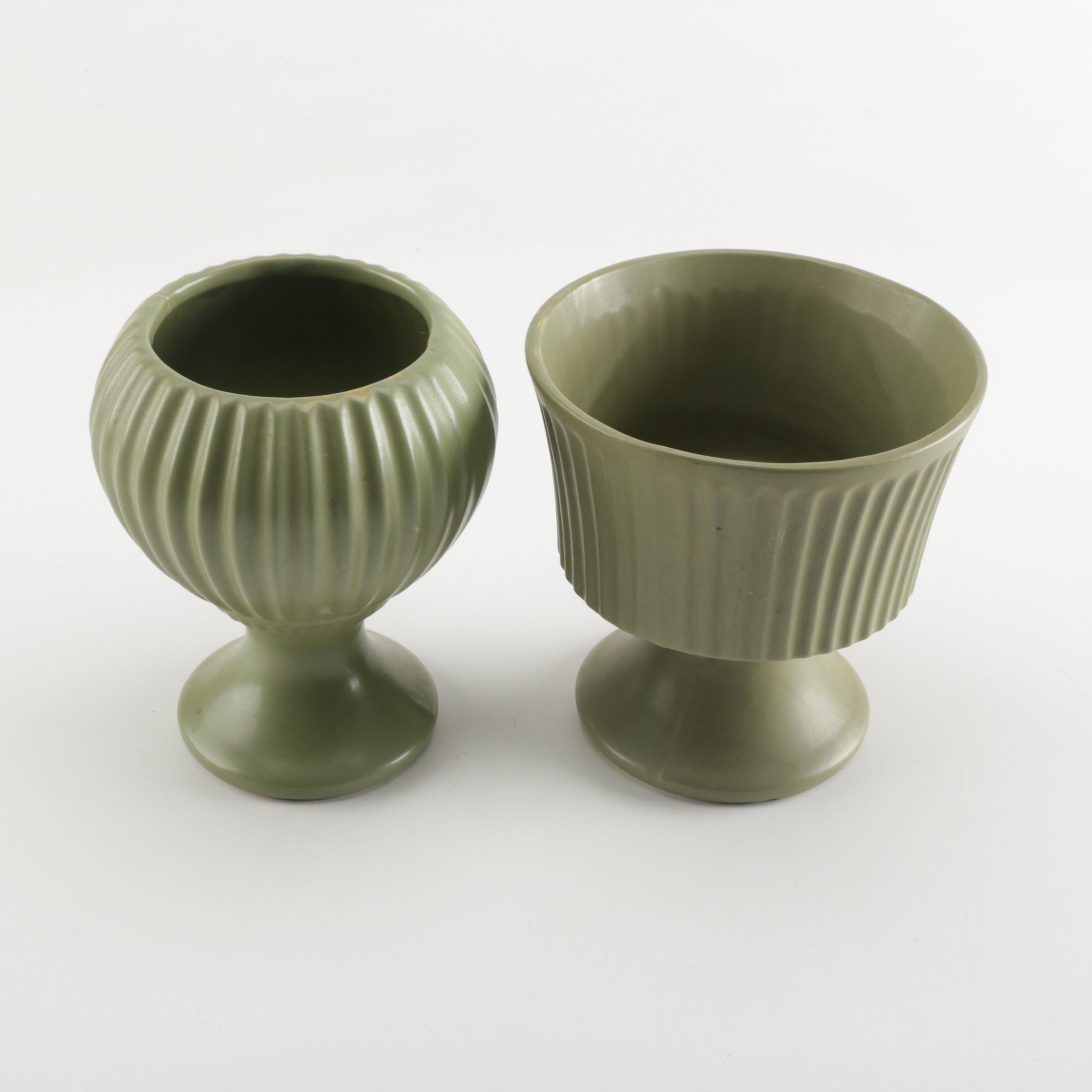 """Vintage McCoy """"Floraline"""" Pottery Vases"""