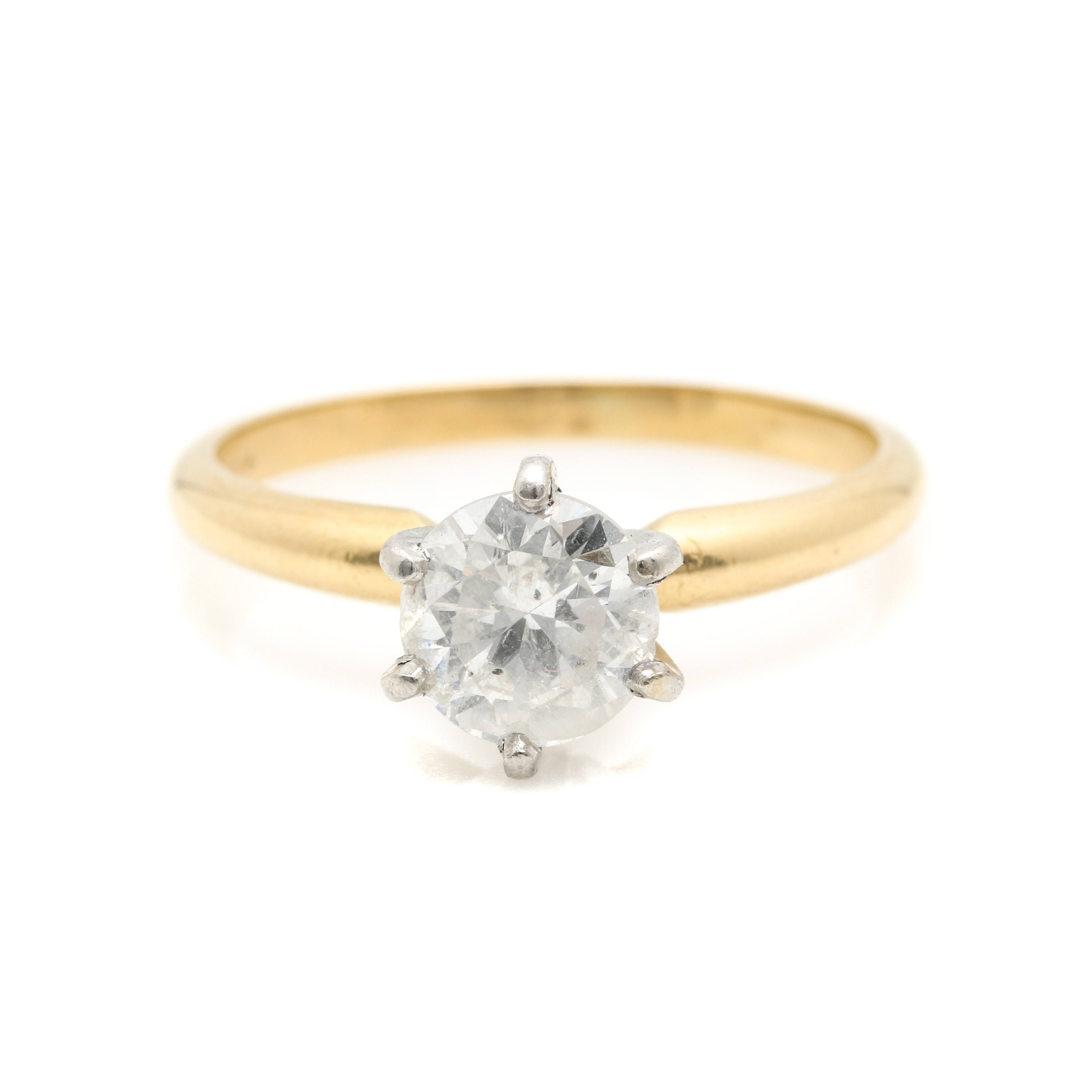 18K Yellow Gold 1.00 CT Diamond Solitaire Ring with Platinum Findings