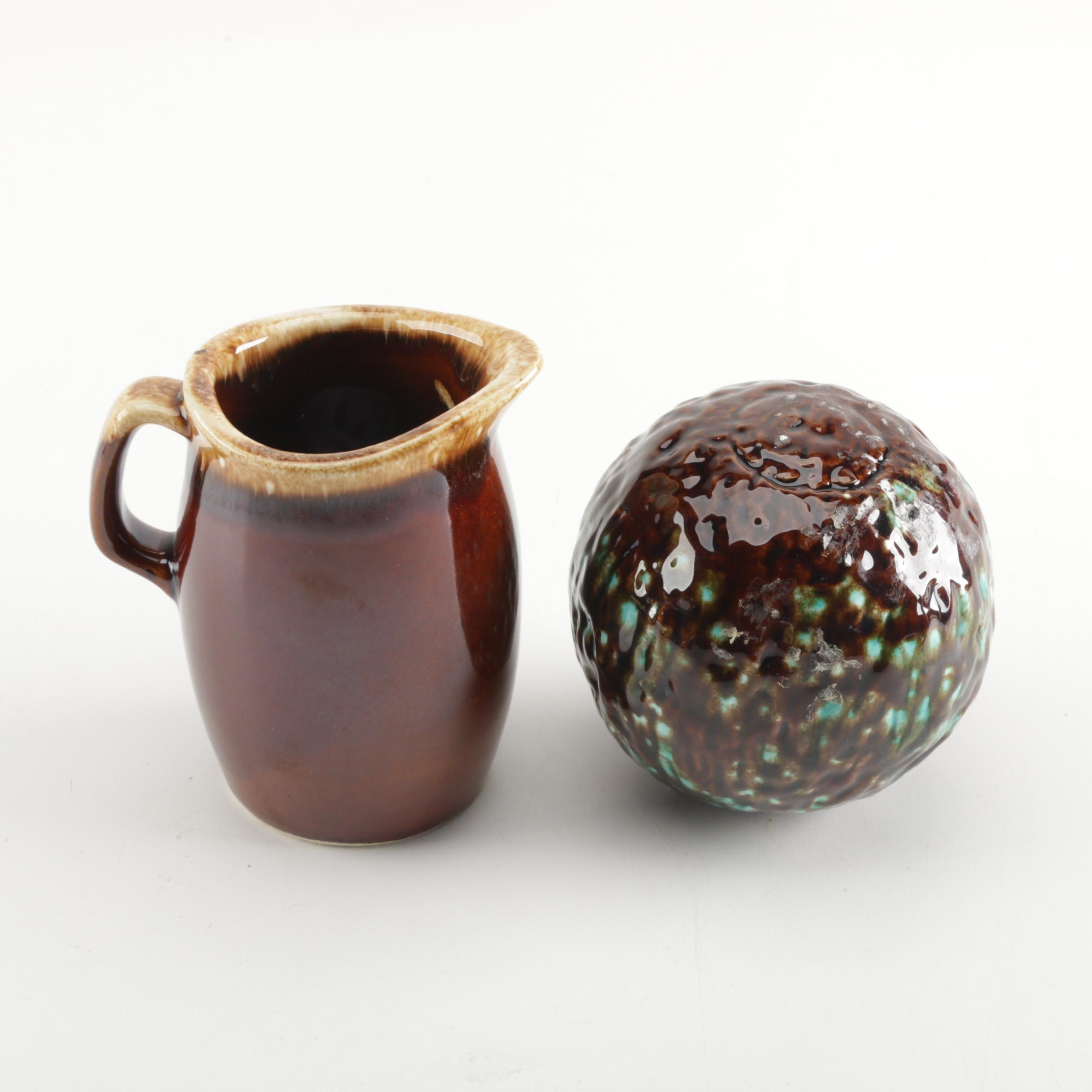 Brown Glazed Hull Pottery Pitcher and Ceramic Decor