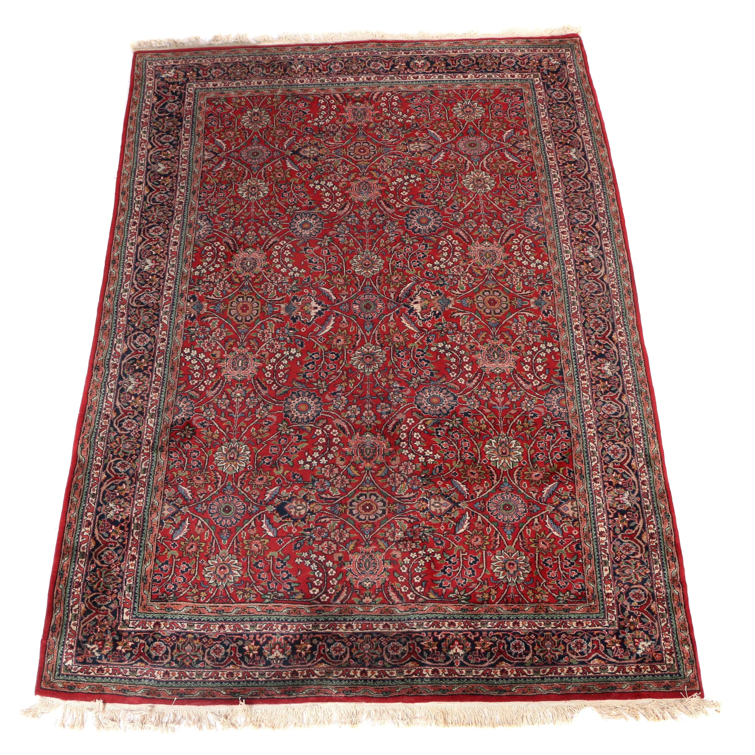 Hand-Knotted Indian Bara Bijar Style Wool Area Rug