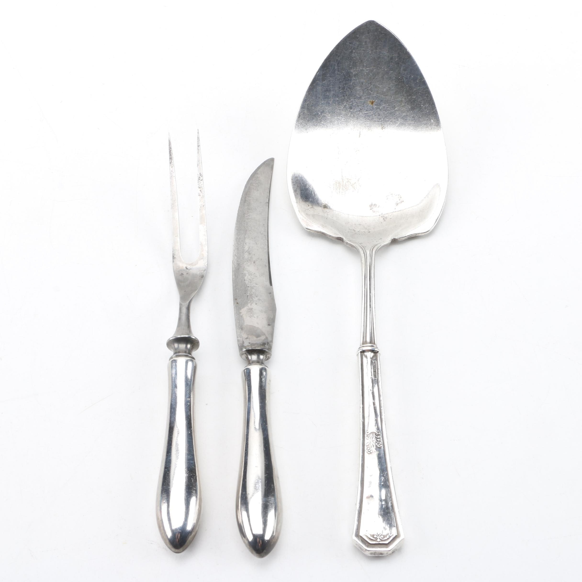 International Silver Co. Sterling Carving Set with Antique Server