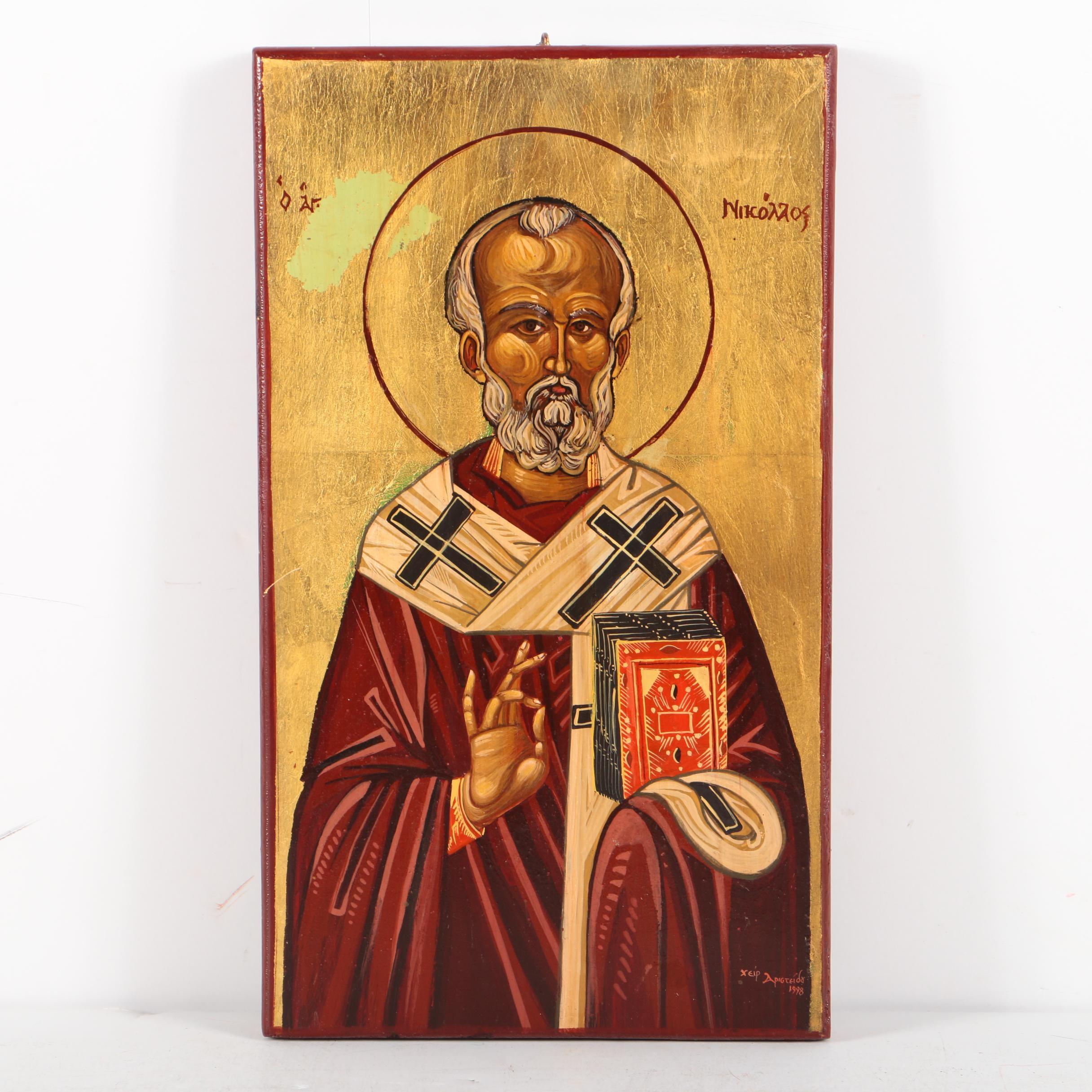 Oil and Gilt Wood Panel Painting Icon of Saint Nicholas