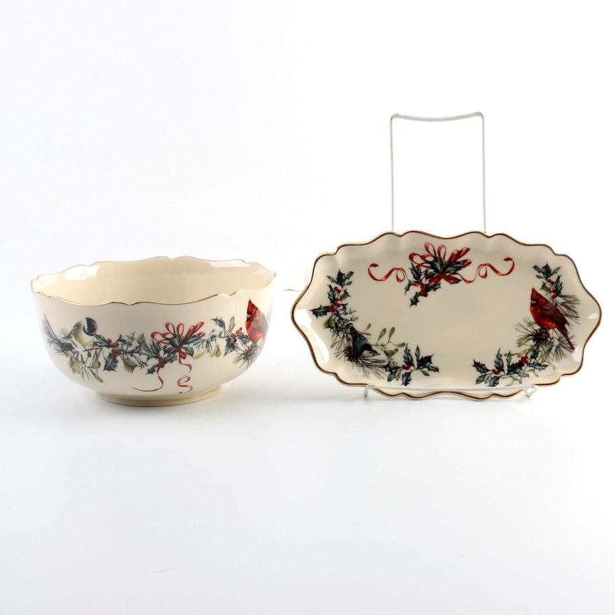 Lenox winter greetings bowl and tray ebth lenox winter greetings bowl m4hsunfo
