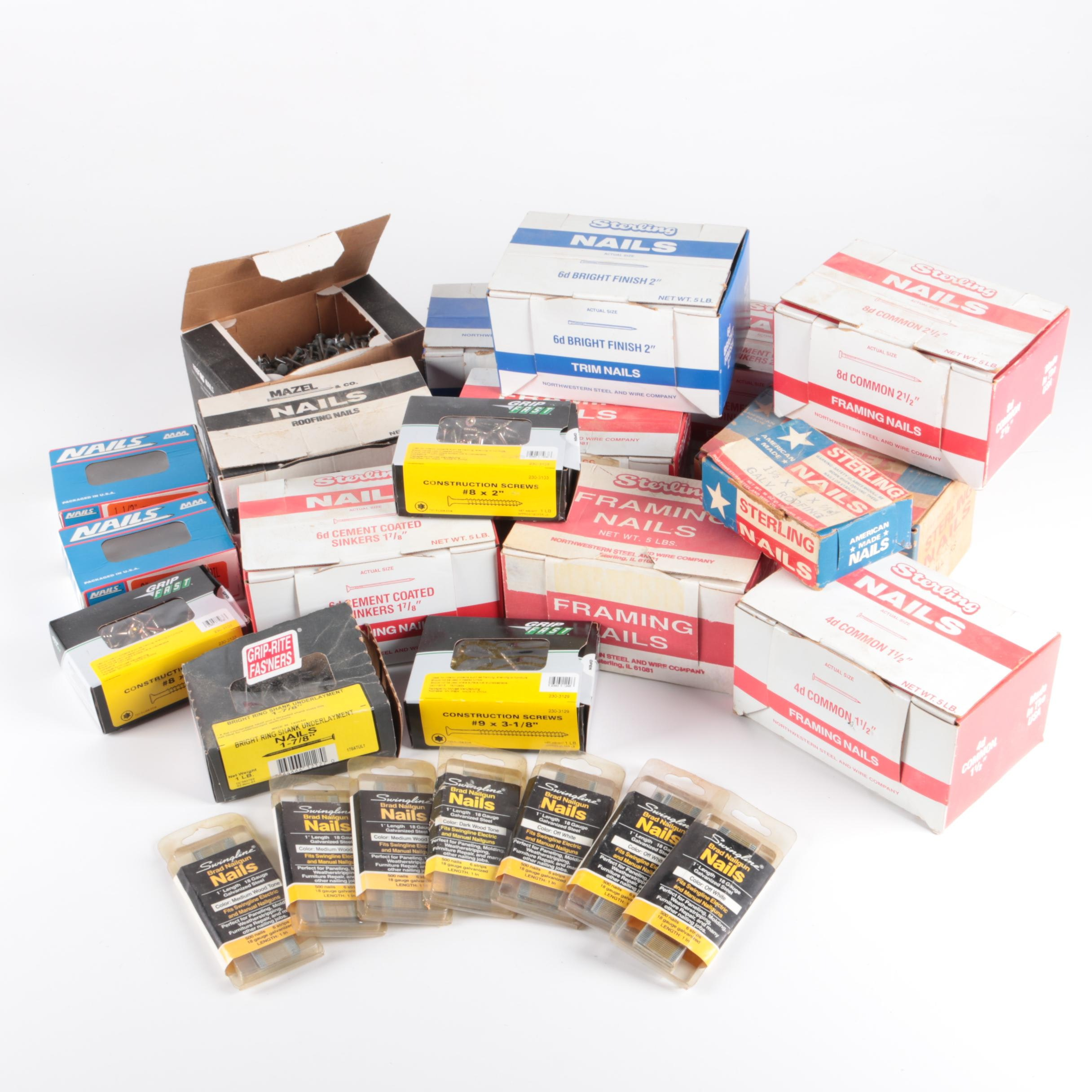 Boxes of  Assorted Nails