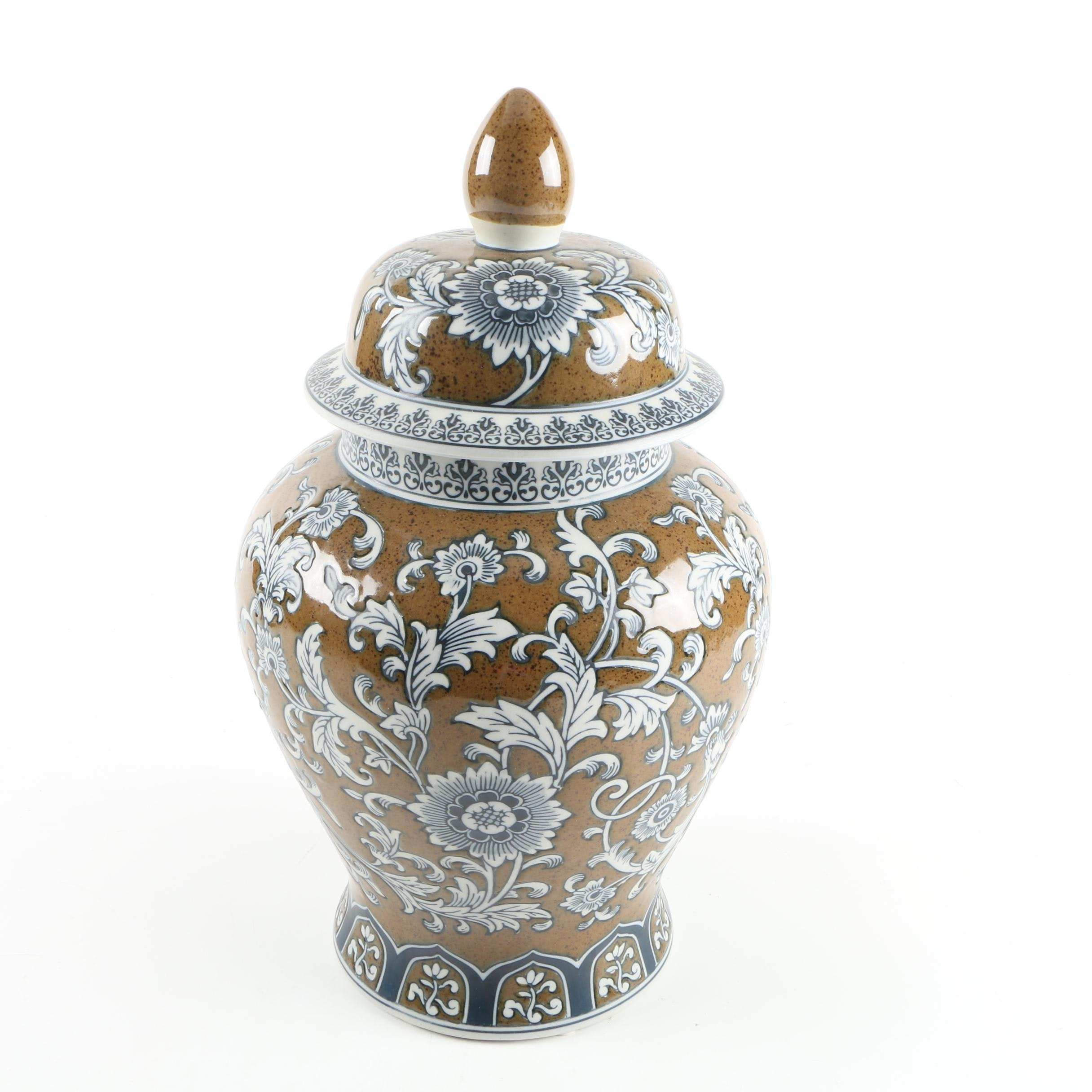 White And Brown Floral Motif Ginger Jar